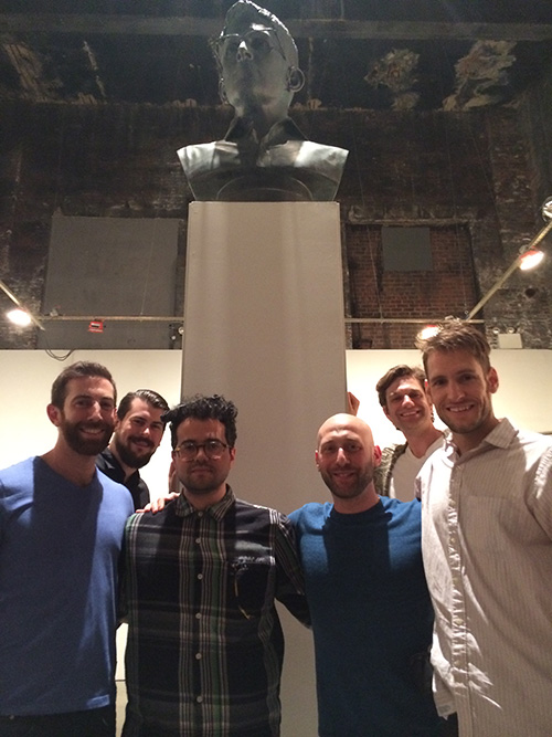 The installation team at the statue's first gallery show. - (L to R) Andrew Tider, Jesse Snyder, Judah Dadone, Me, Miles Pittman, Doyle Trankina