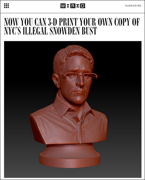 A month after we installed the bust, we released a 3D printable file so anyone could print one themselves. - Print your own here.