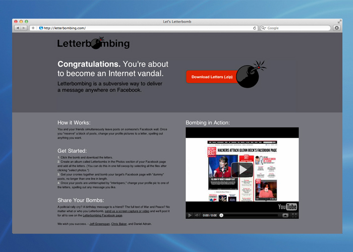 At letterbombing.com you could download your own letters and learn how to successfully bomb.