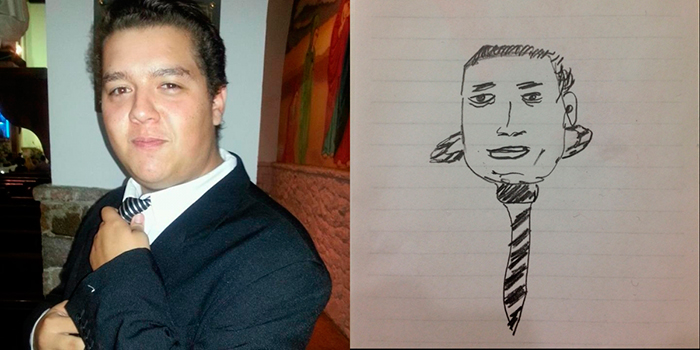 My stab at drawing a Selfless Portrait. Amazingly, Marxseny from Brazil accepted my friend request in spite of this.