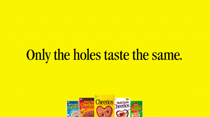 Had to create a billboard featuring all five flavors of Cheerios. This was the solve.