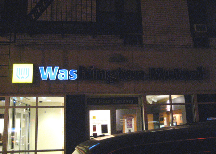 I caught this just days after Washington Mutual's collapse. –East Village, NYC
