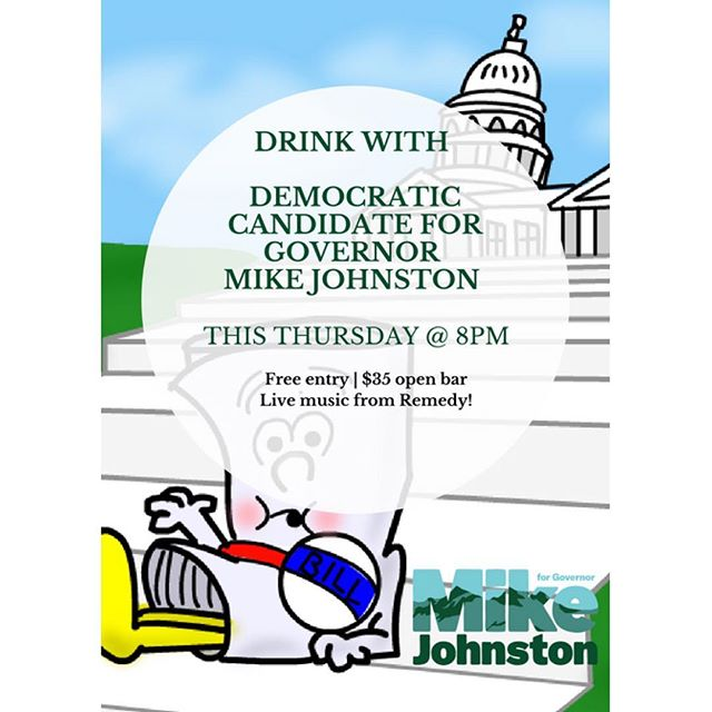 Tomorrow night come have a drink with Governor candidate @mikejohnstonco ! There will be live music and a 35$ open bar!!! Please rsvp with @mikejohnstonco on his fb page. Hope to see you there!