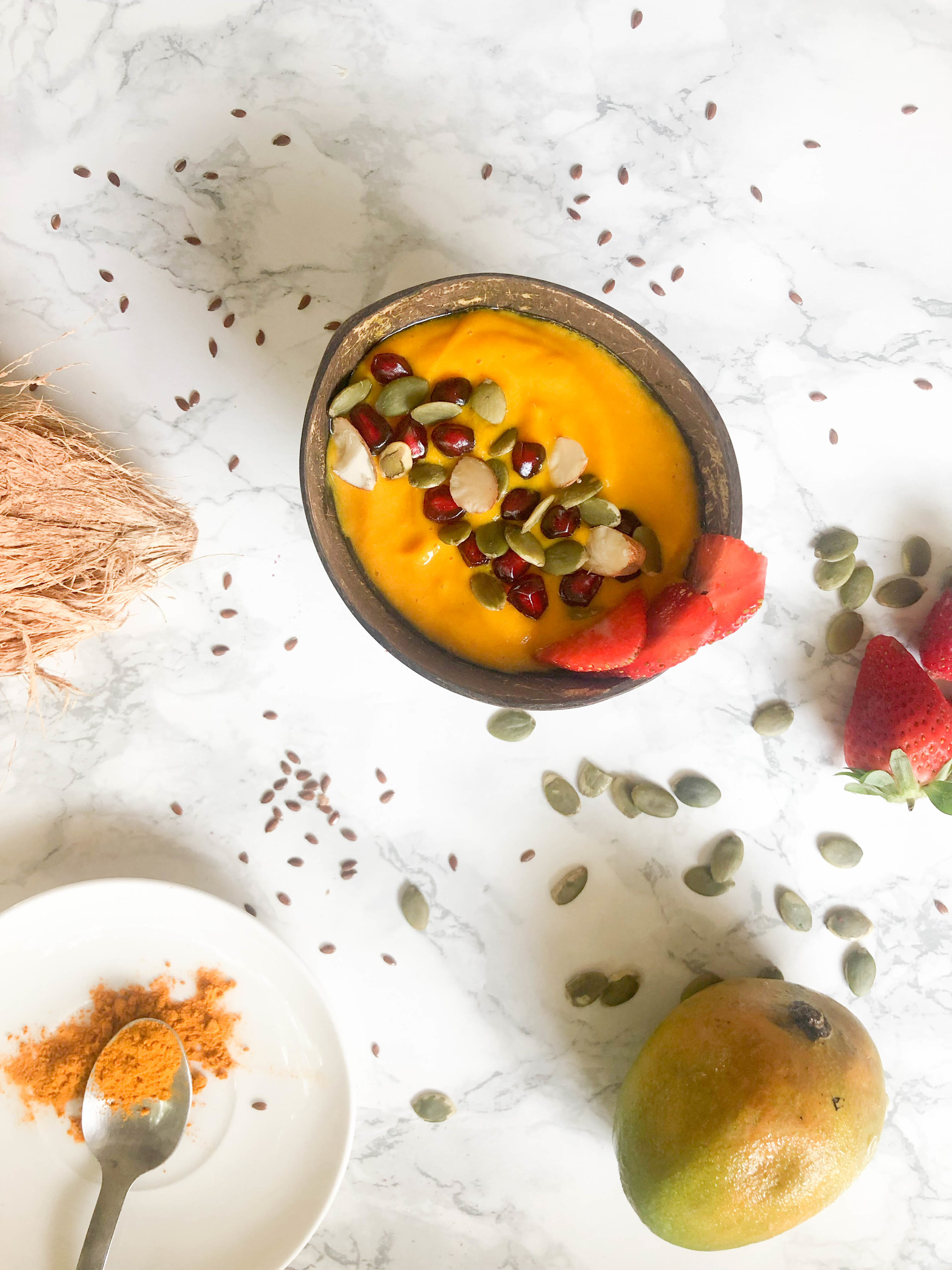 Mango Smoothie Bowl infused with turmeric and ginger