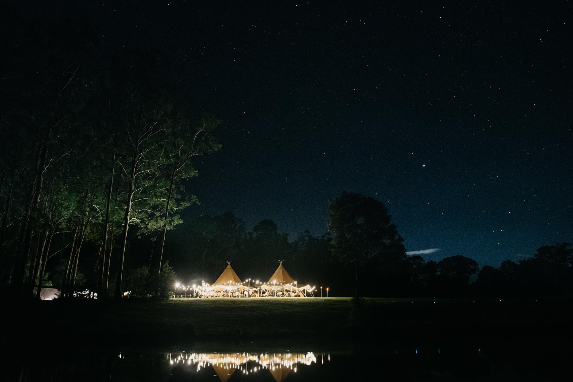 EPHEMERAL CREATIVE Falls Farm wedding Sunshine Coast with Tipi and festoon lighting