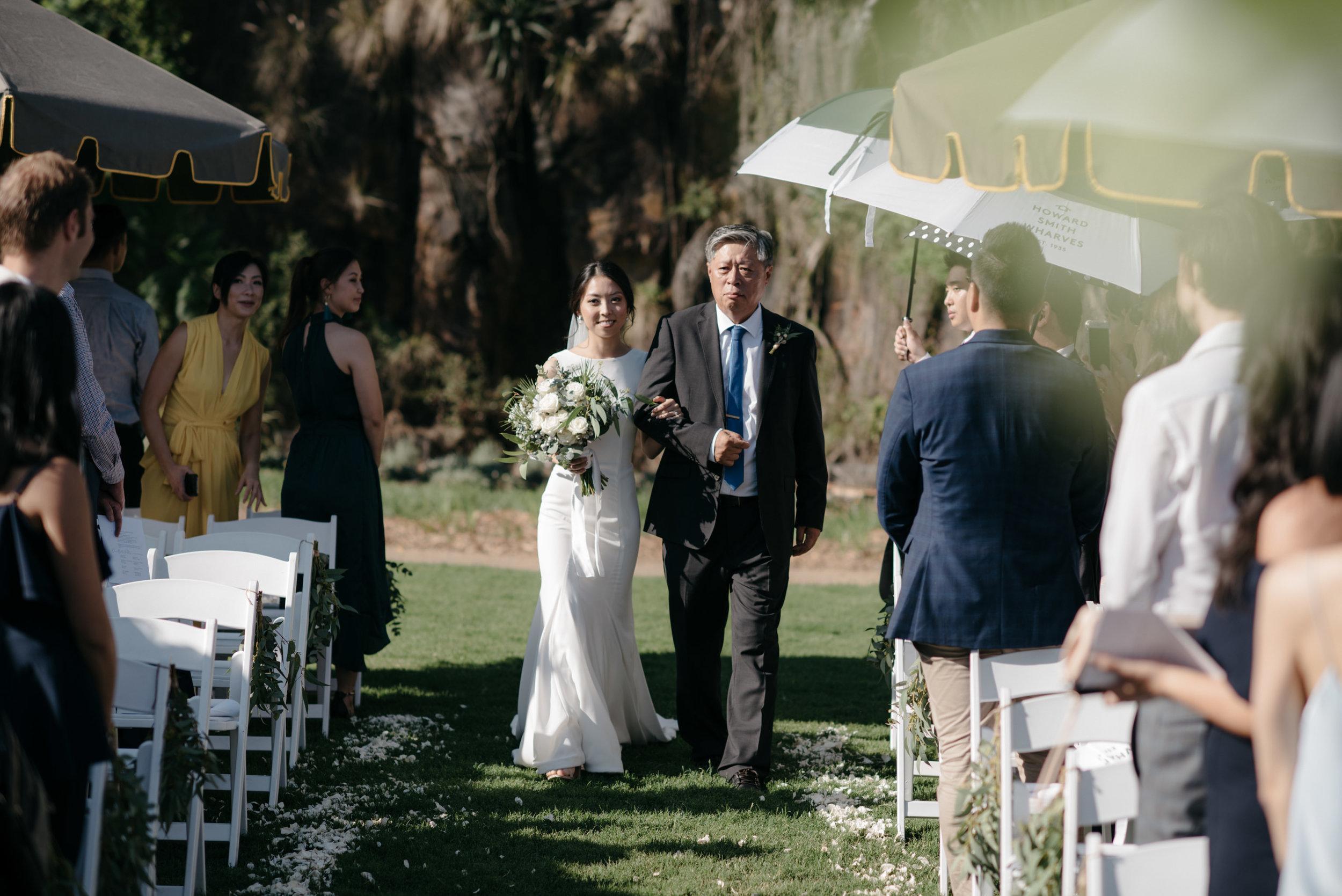 Bride walking down aisle, Howard Smith Wharves, Brisbane Wedding, Ephemeral Creative