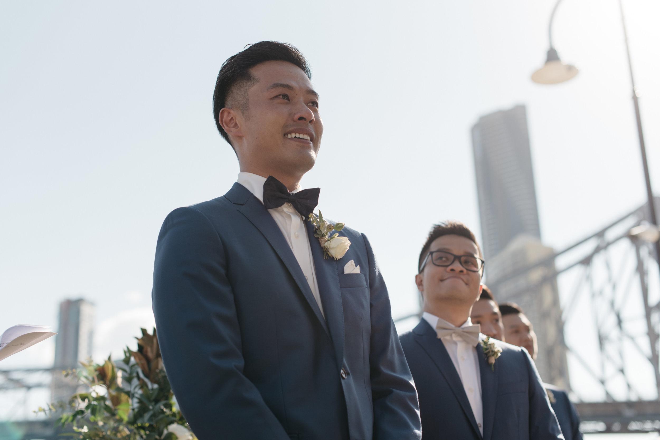 Groom reaction, Howard Smith Wharves, Brisbane Wedding, Ephemeral Creative