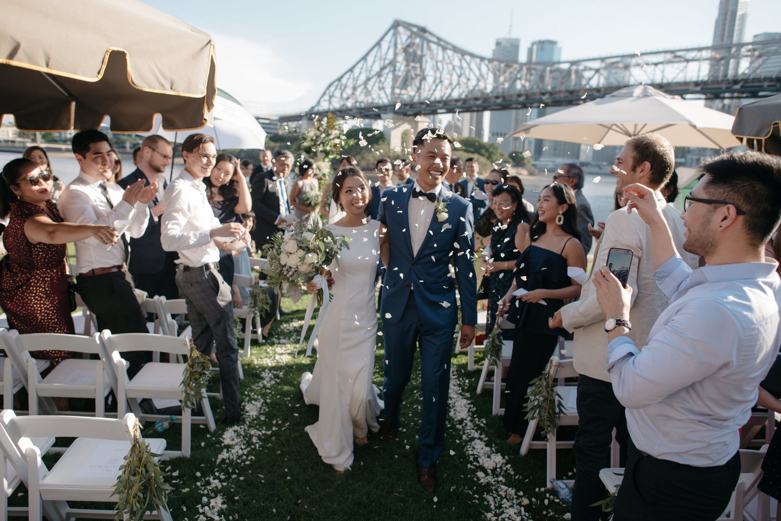 Just married at Howard Smith Wharves, Brisbane Wedding, Ephemeral Creative