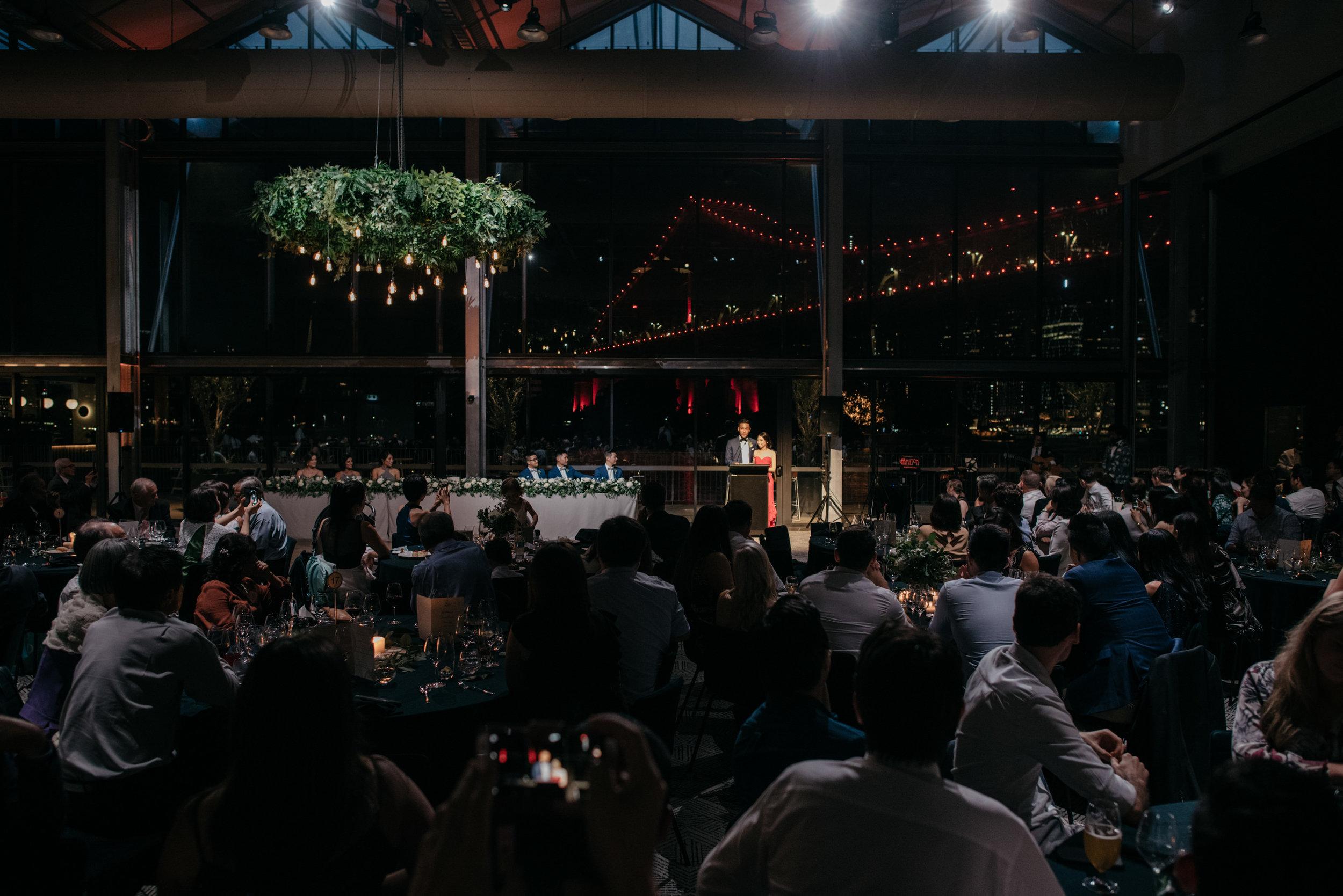 Wedding speeches at Howards Hall, Howard Smith Wharves wedding reception, Brisbane Wedding, Ephemeral Creative
