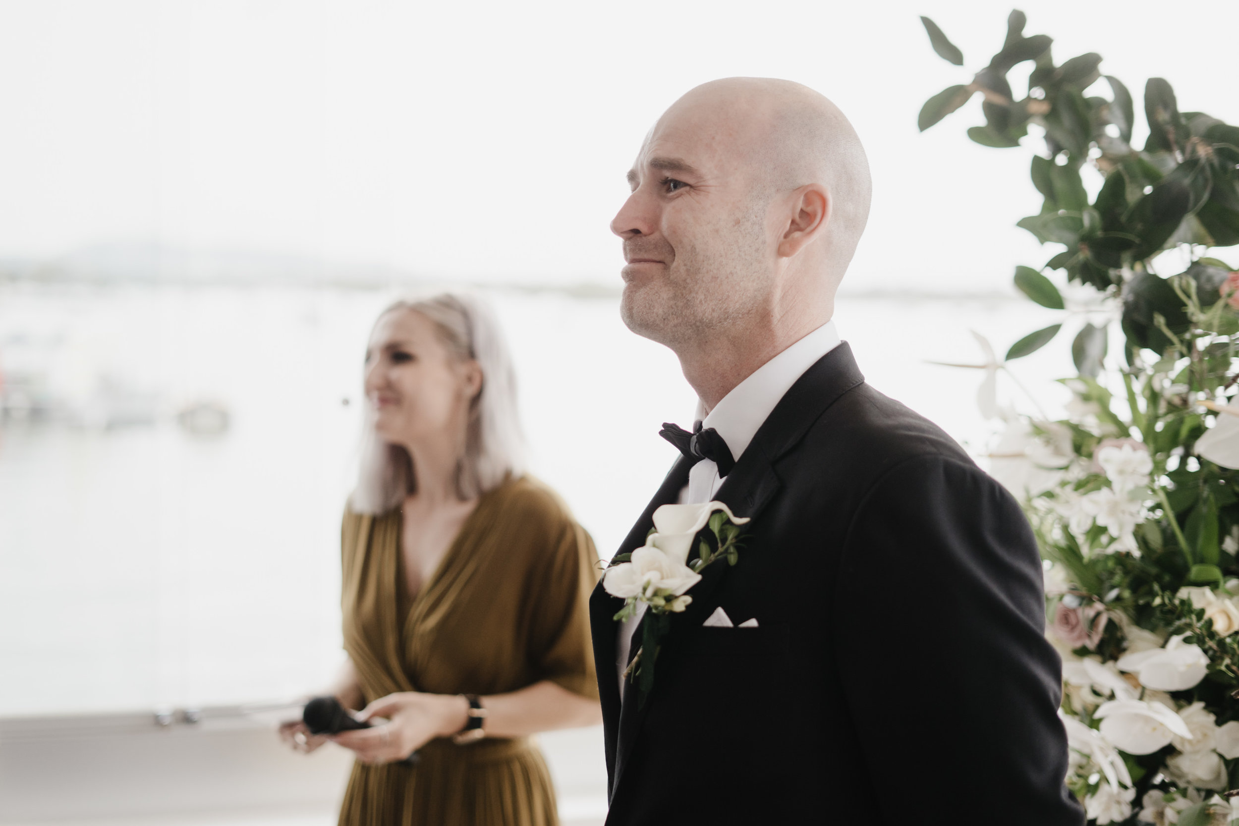 Jacquie and Jon Wedding EPHEMERAL CREATIVE Noosa wedding groom reaction