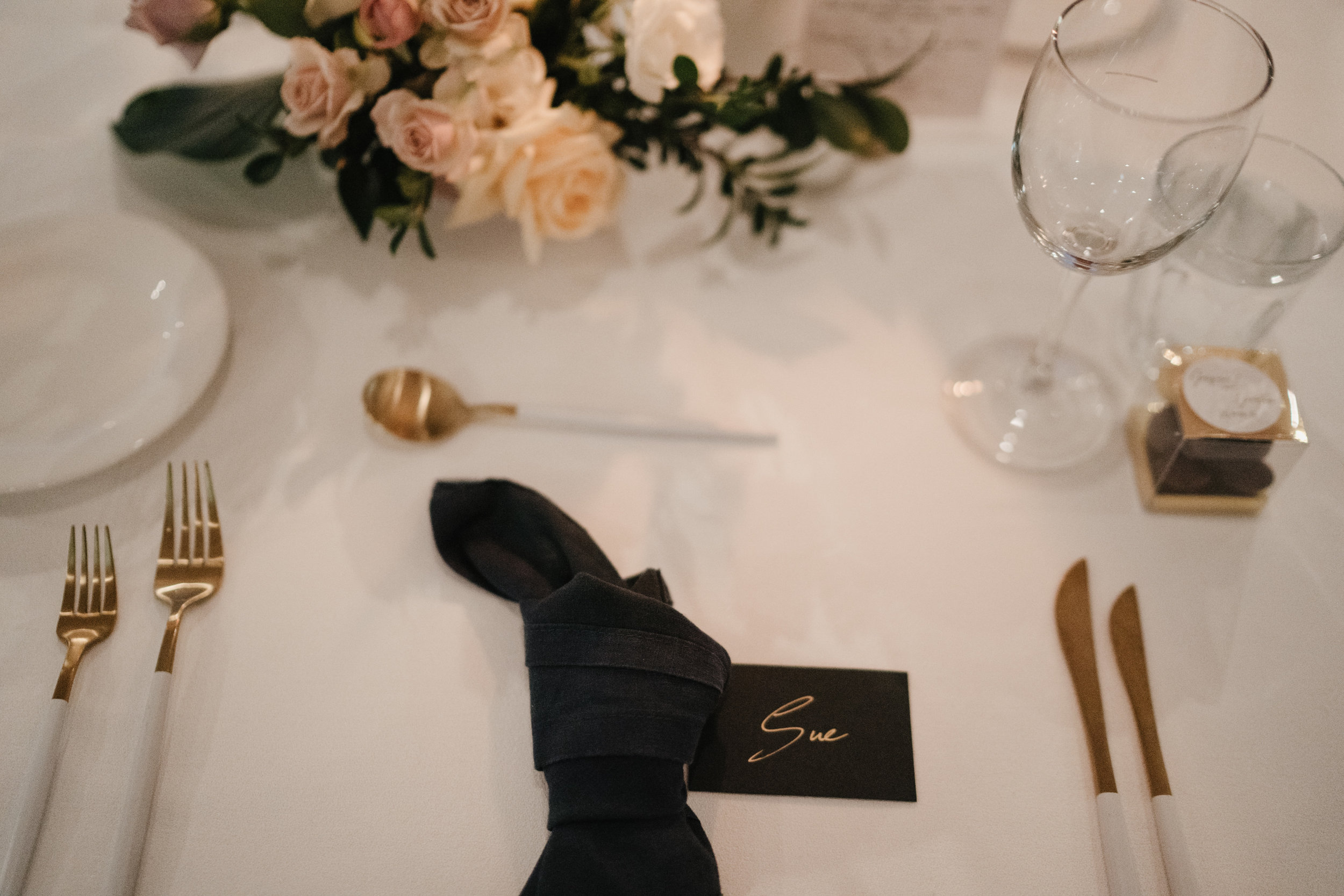 Jacquie and Jon Wedding EPHEMERAL CREATIVE Noosa Boathouse wedding table setting