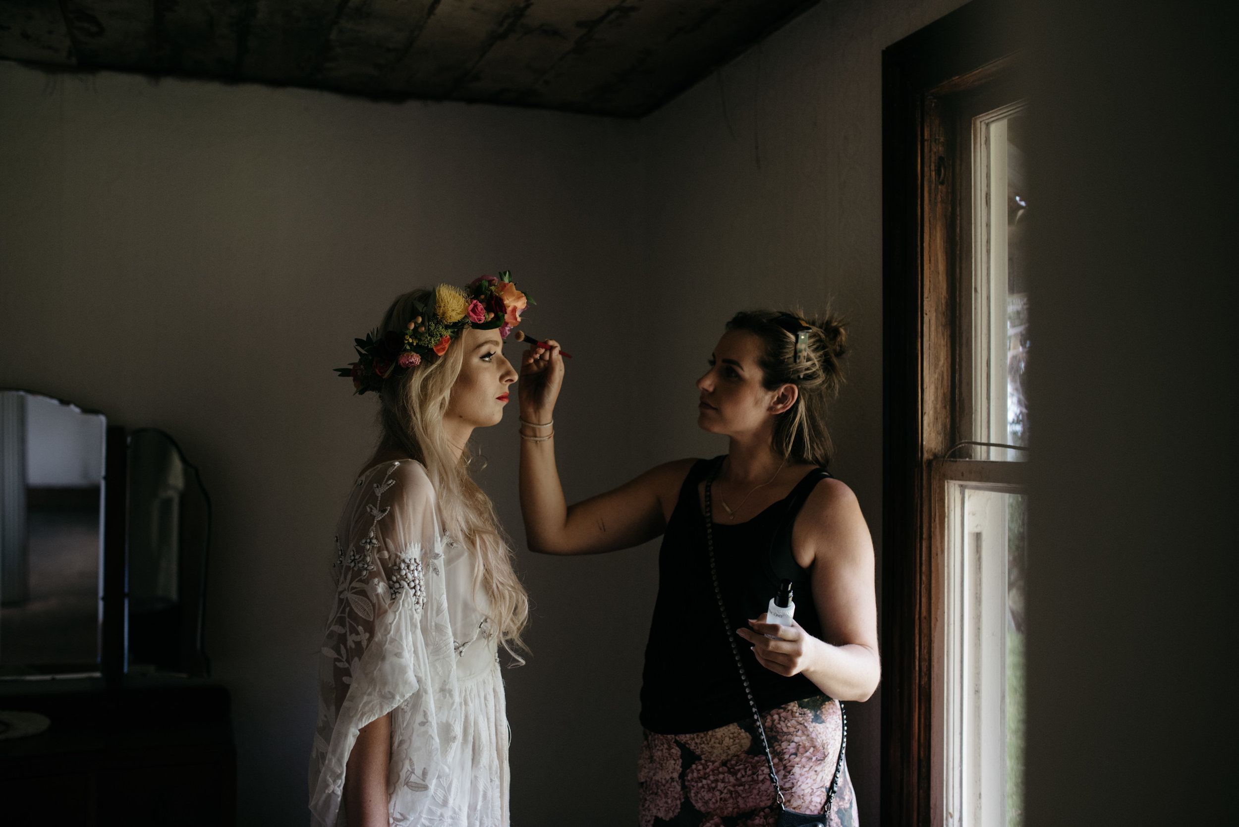 Josie and Ryan EPHEMERAL CREATIVE Jonkers Farm New Zealand Wedding makeup prep
