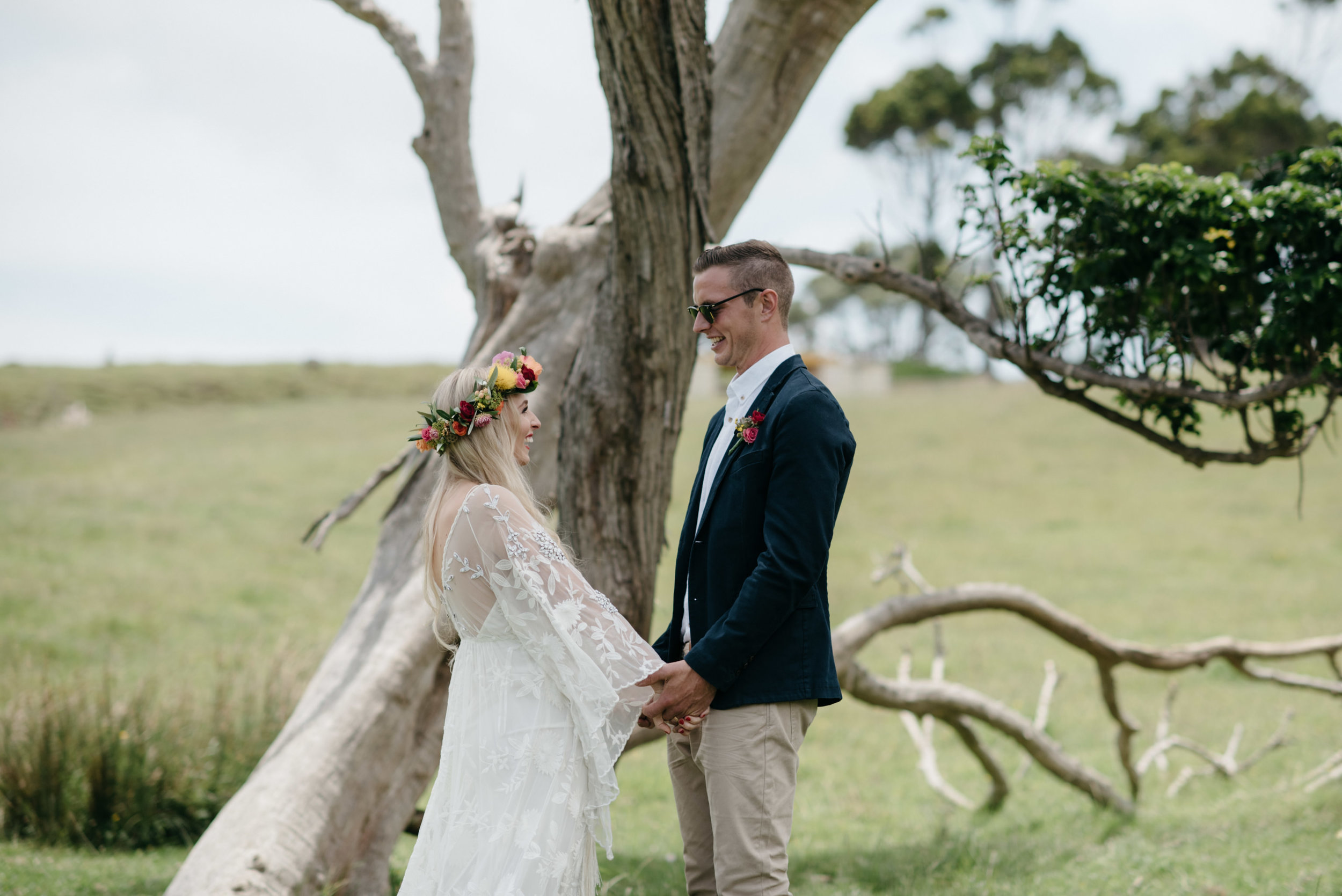 Josie and Ryan EPHEMERAL CREATIVE Jonkers Farm New Zealand Wedding first look