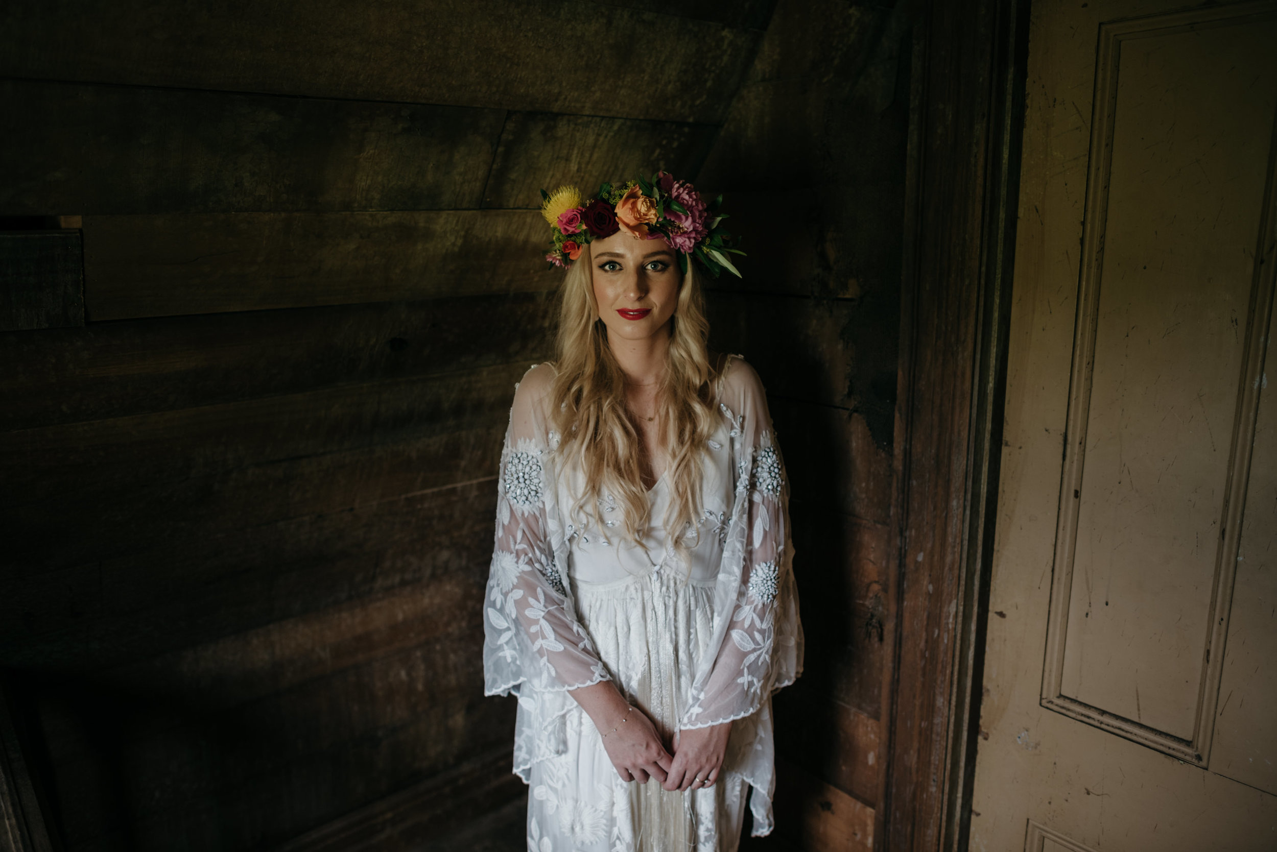 Josie and Ryan EPHEMERAL CREATIVE Jonkers Farm New Zealand Wedding moody bride portrait
