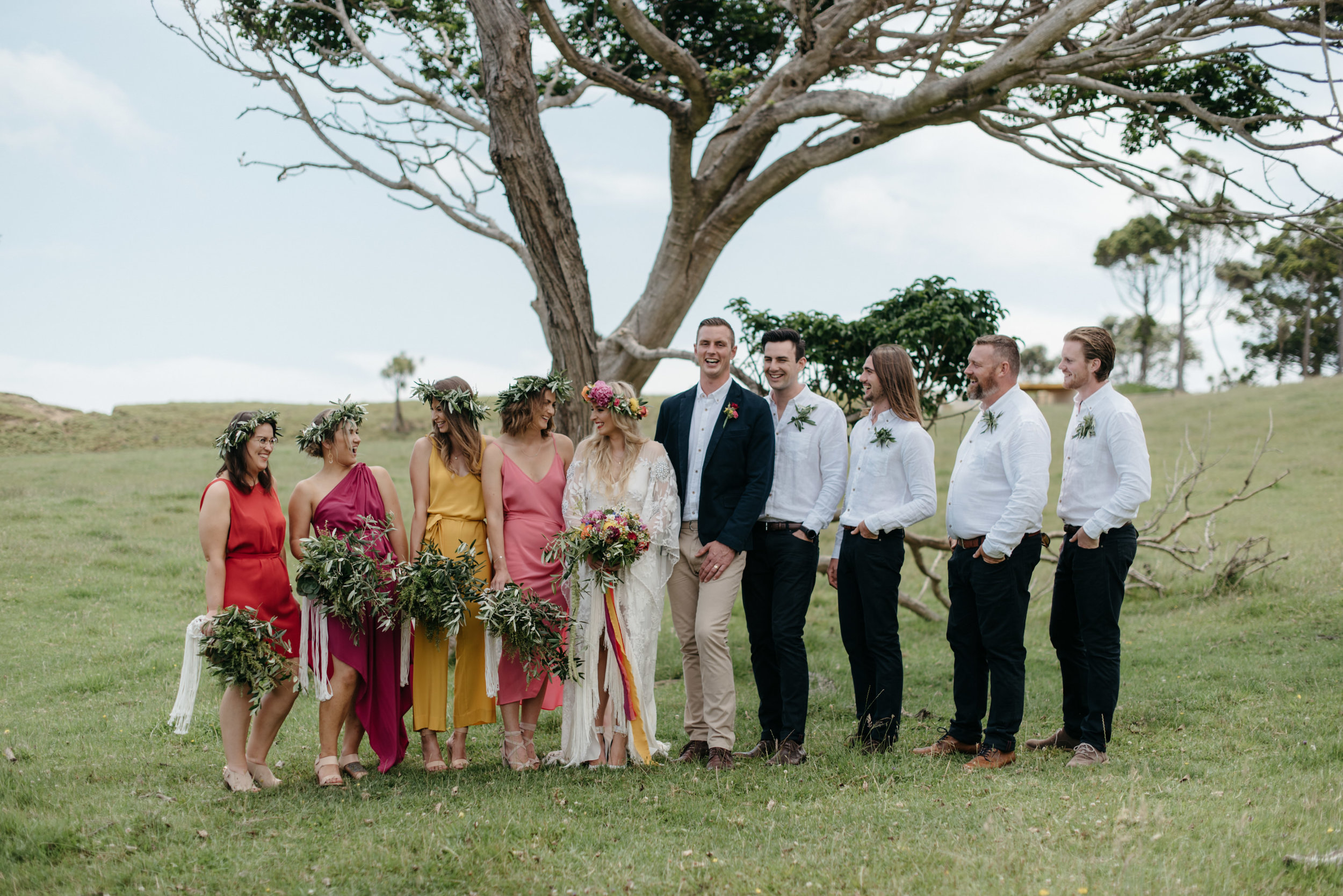 Josie and Ryan EPHEMERAL CREATIVE Jonkers Farm New Zealand Wedding colourful bridal party