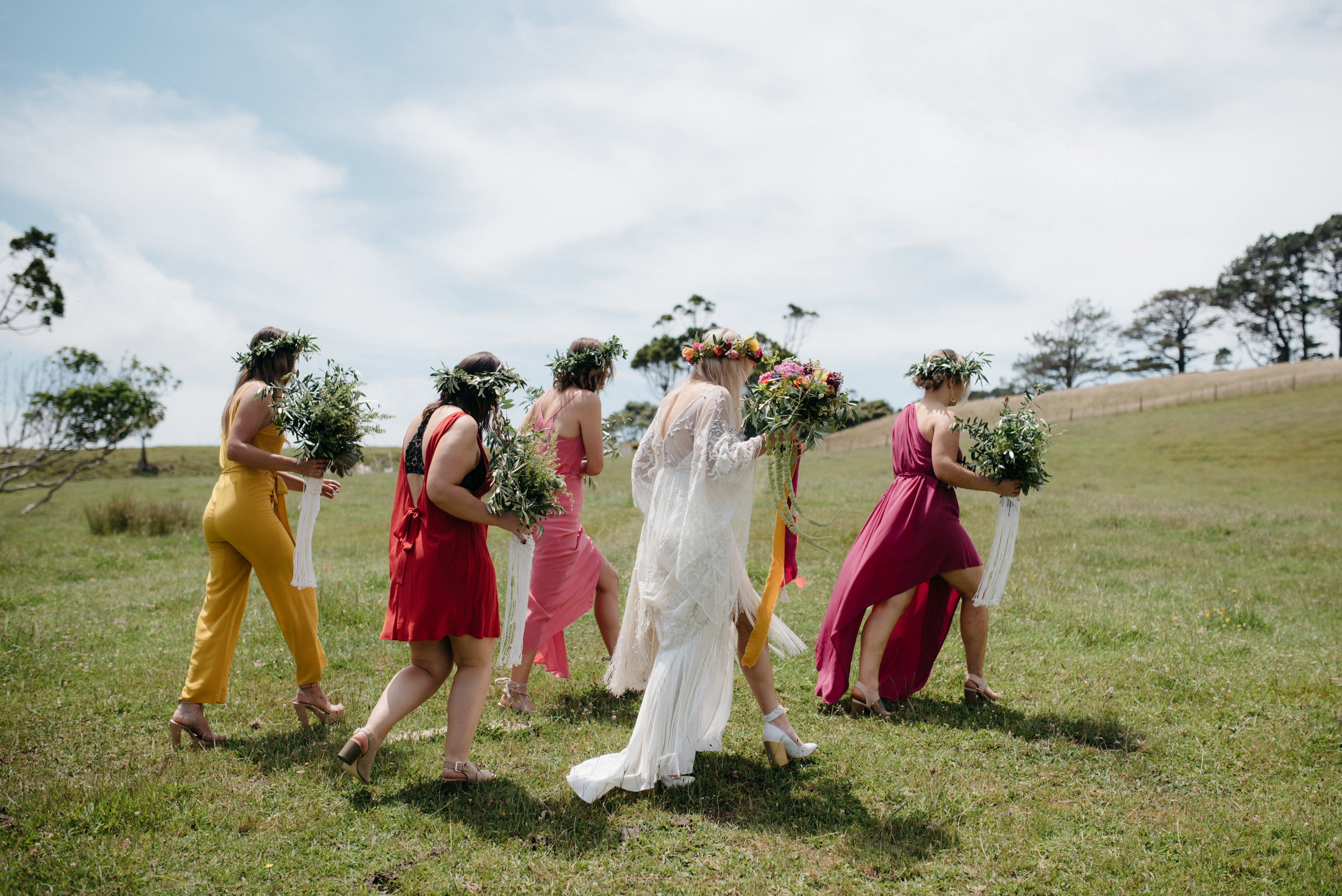 Josie and Ryan EPHEMERAL CREATIVE Jonkers Farm New Zealand Wedding colourful bridesmaids