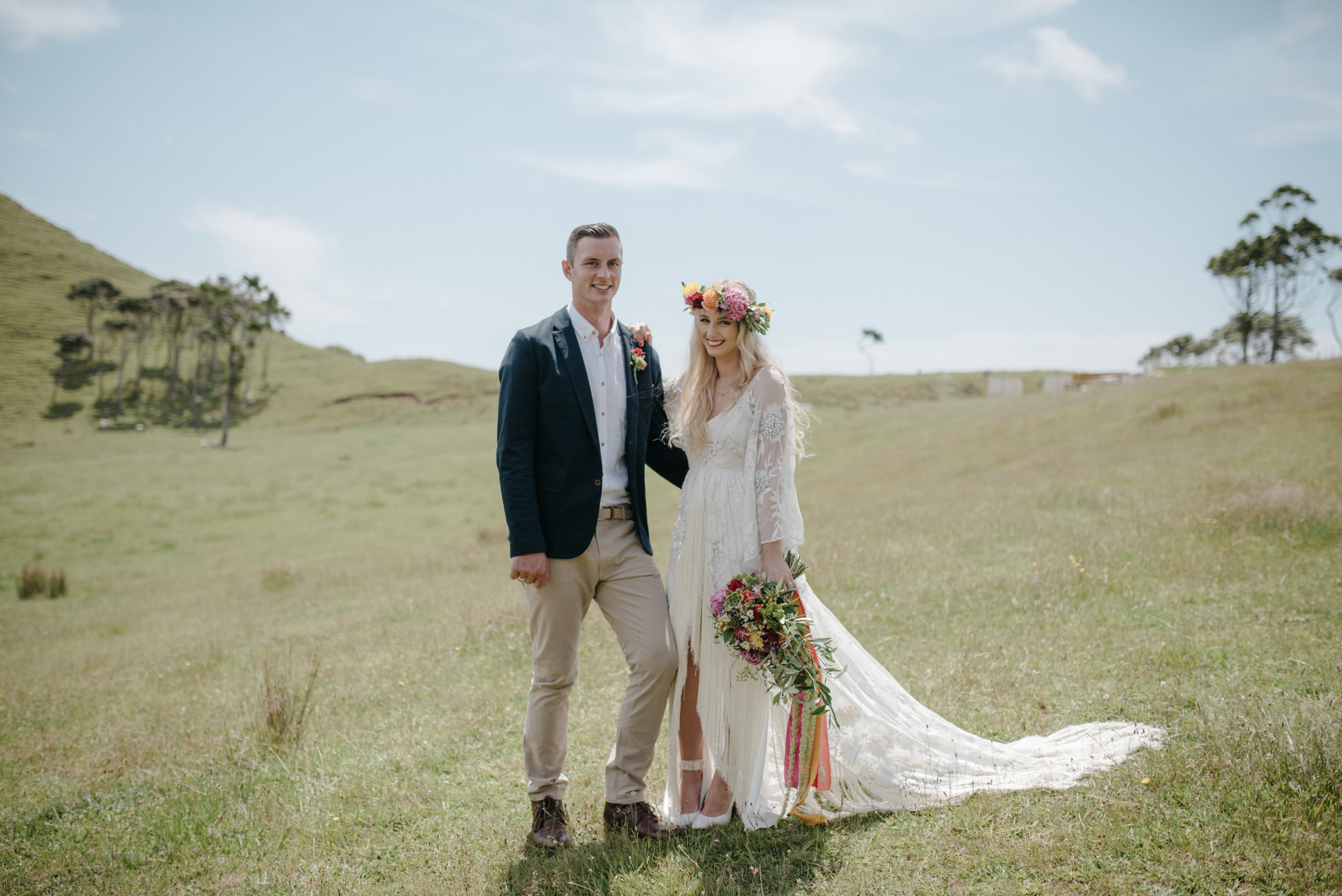 Josie and Ryan EPHEMERAL CREATIVE Jonkers Farm New Zealand Wedding boho bride and groom