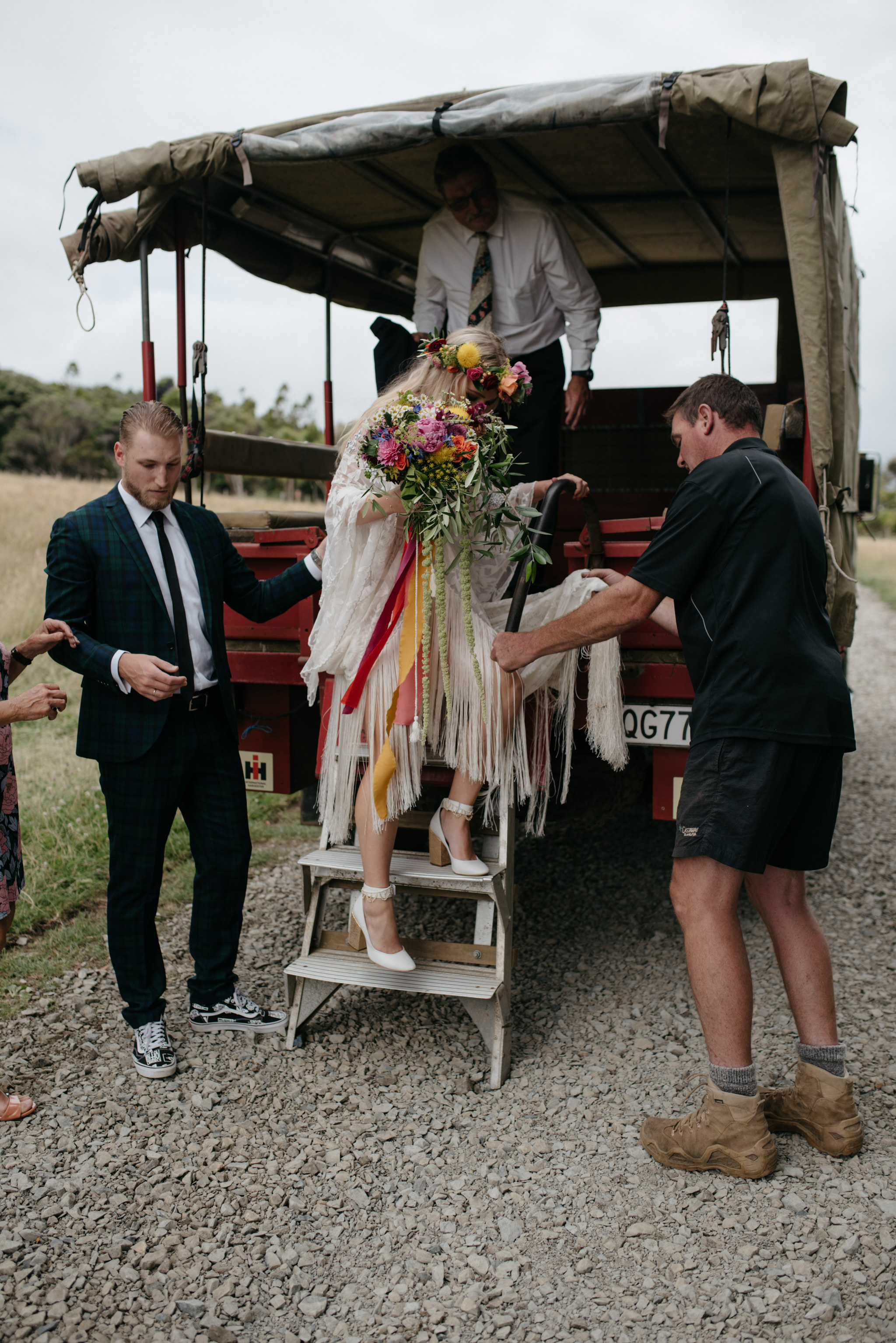 Josie and Ryan EPHEMERAL CREATIVE Jonkers Farm New Zealand Wedding bride arriving