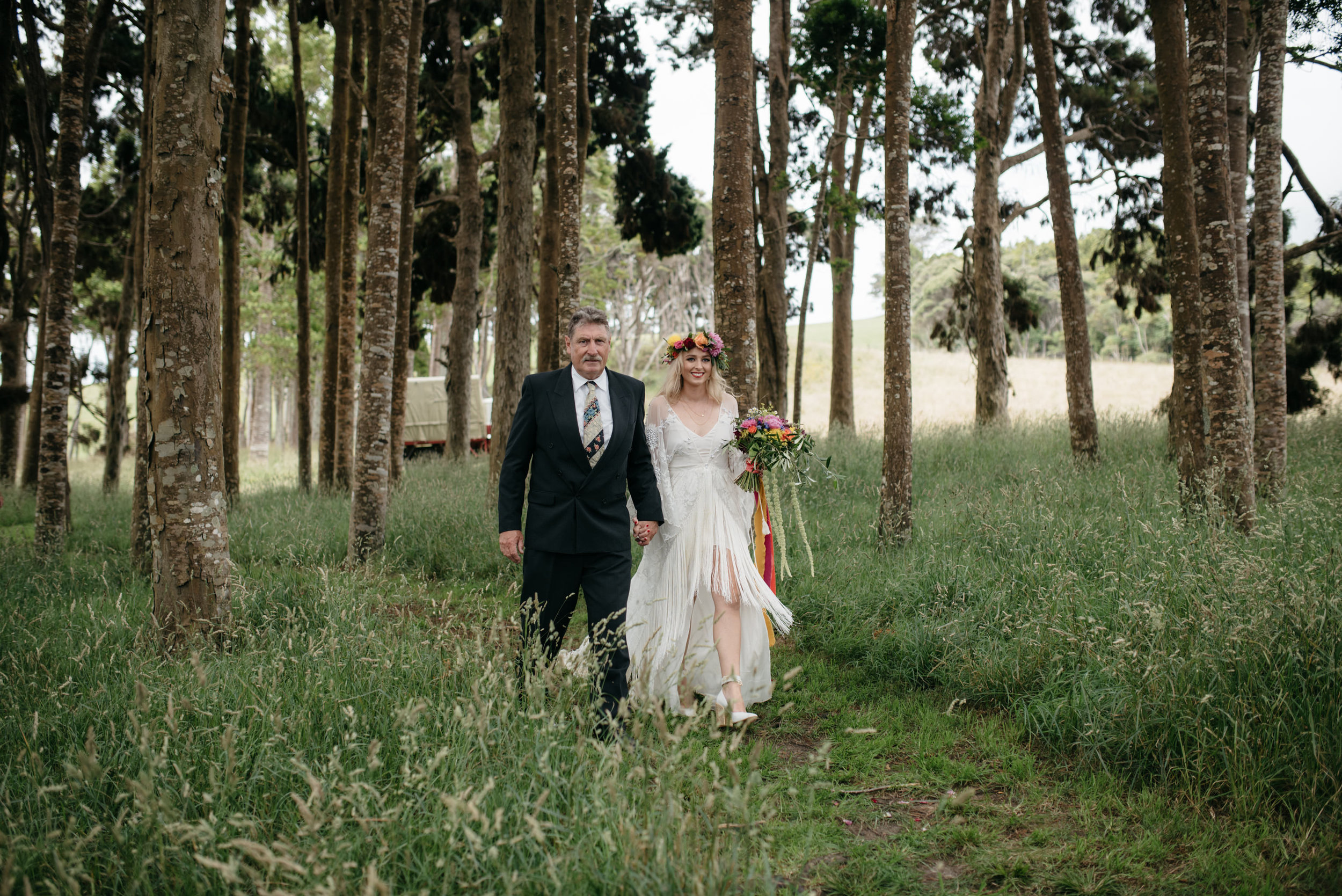 Josie and Ryan EPHEMERAL CREATIVE Jonkers Farm New Zealand Wedding bride and father walking down the aisle