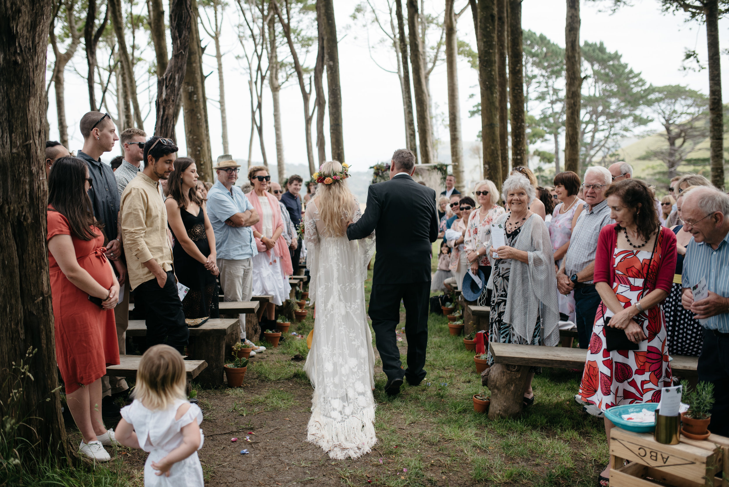 Josie and Ryan EPHEMERAL CREATIVE Jonkers Farm New Zealand Wedding walking down the aisle