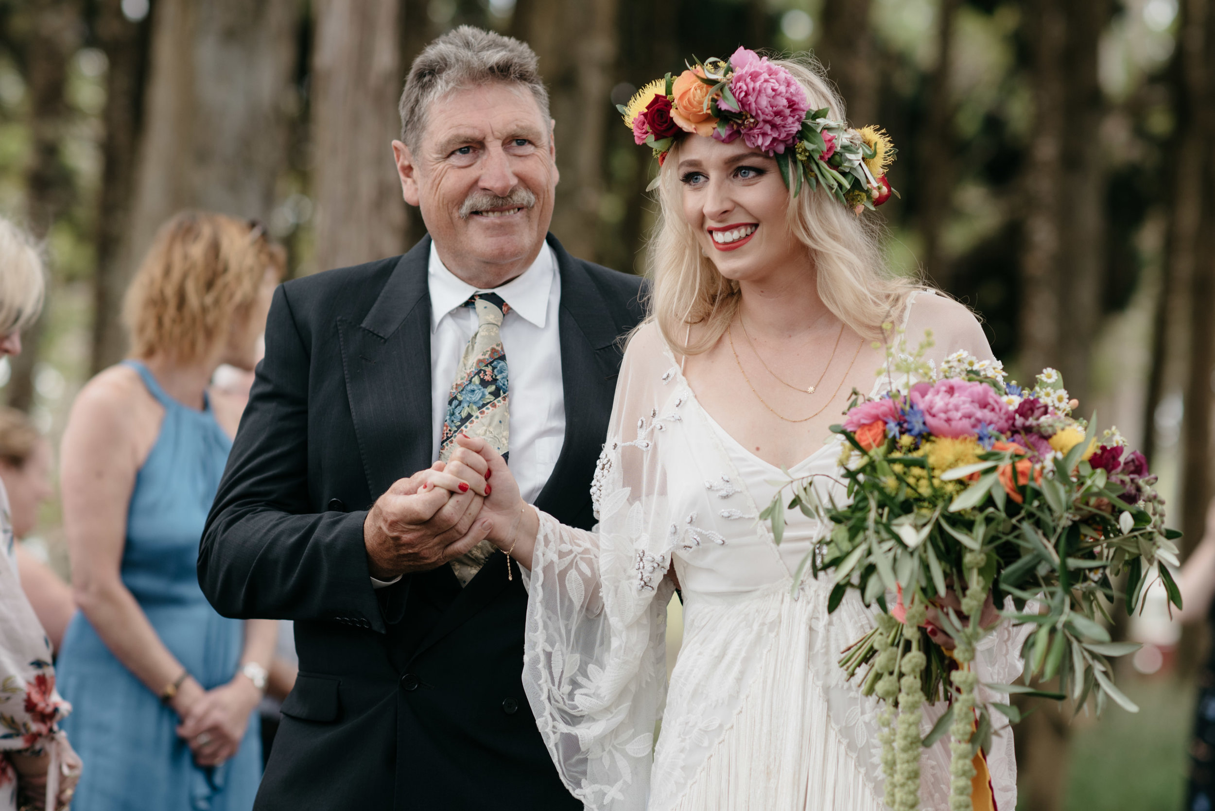 Josie and Ryan EPHEMERAL CREATIVE Jonkers Farm New Zealand Wedding bride and father of the bride