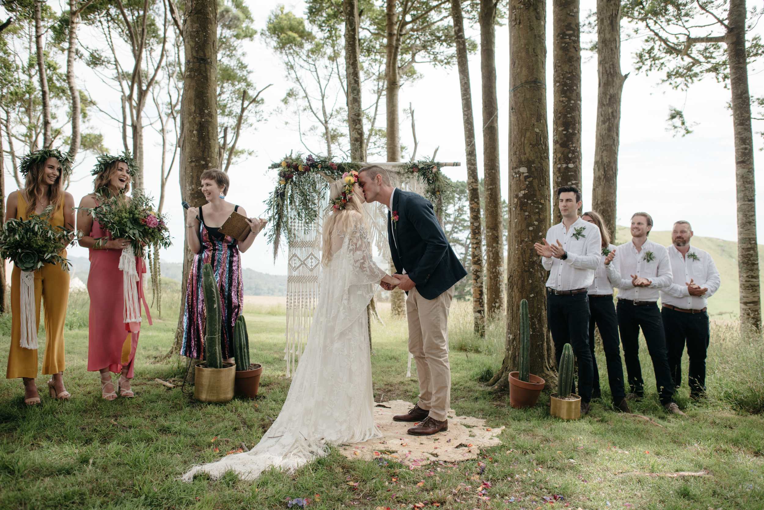 Josie and Ryan EPHEMERAL CREATIVE Jonkers Farm New Zealand Wedding first kiss as husband and wife