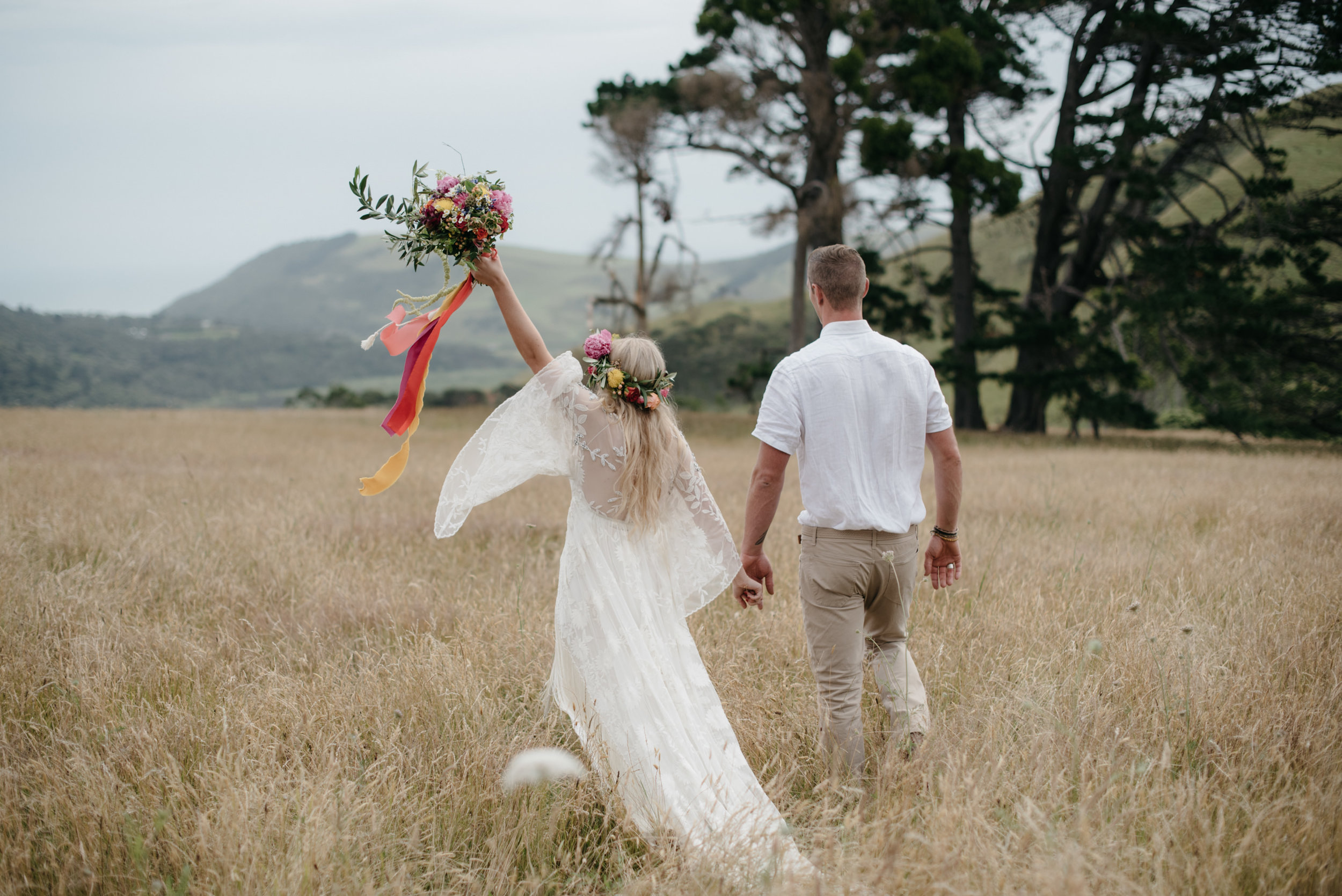 Josie and Ryan EPHEMERAL CREATIVE Jonkers Farm New Zealand Wedding just married