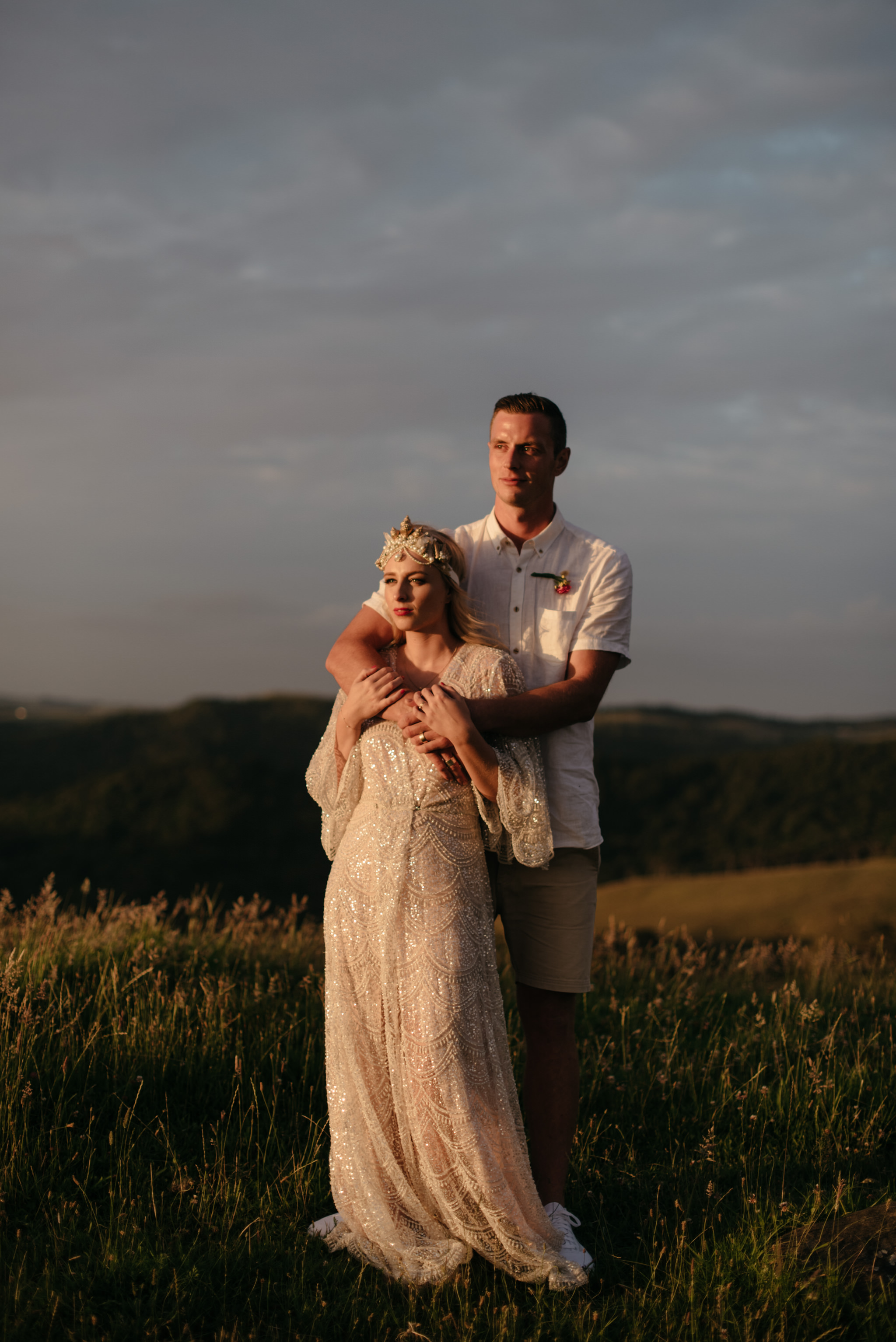 Josie and Ryan EPHEMERAL CREATIVE Jonkers Farm New Zealand Wedding bride and groom sunset portrait brooke tyson ritual dress