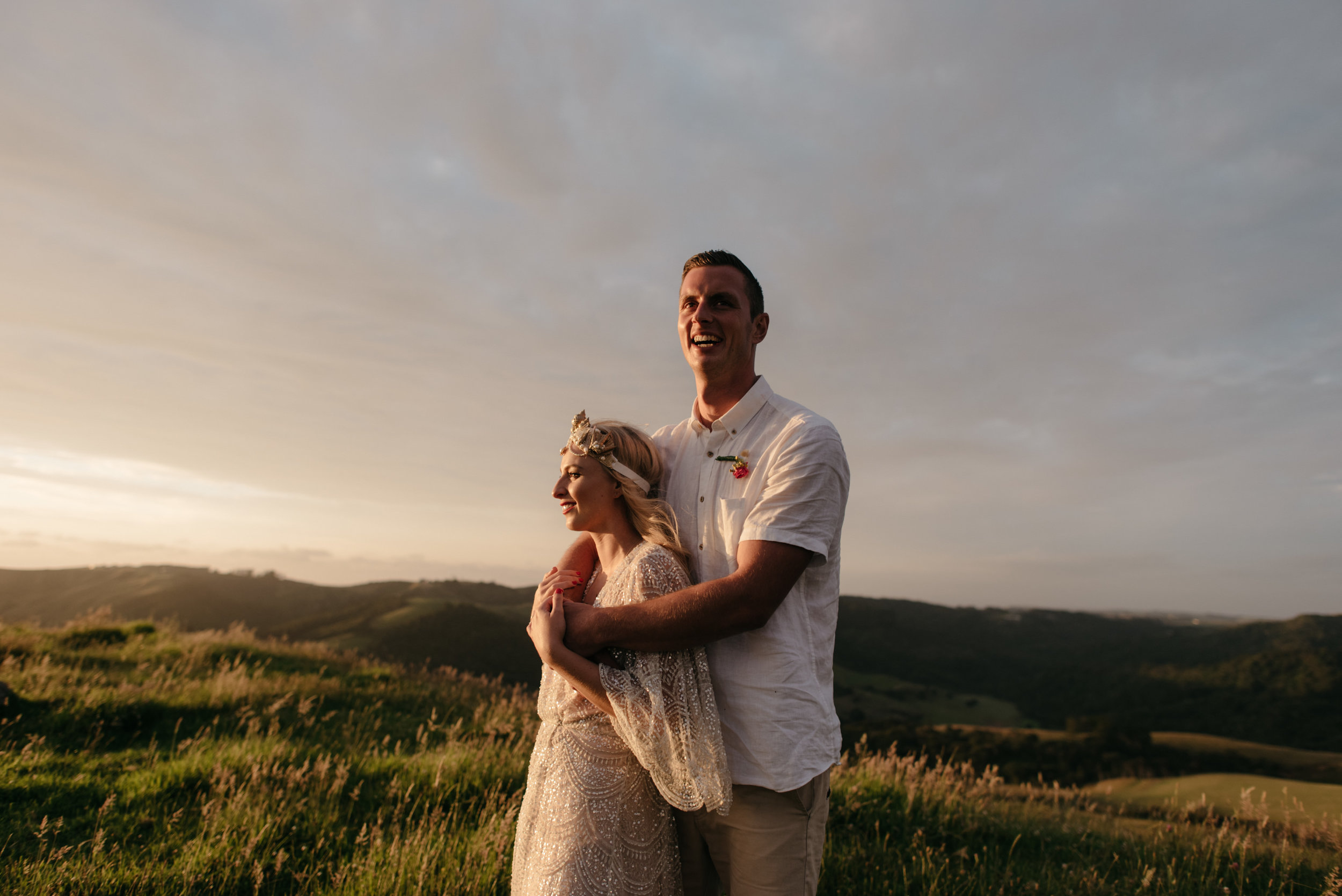 Josie and Ryan EPHEMERAL CREATIVE Jonkers Farm New Zealand Wedding bride and groom sunset