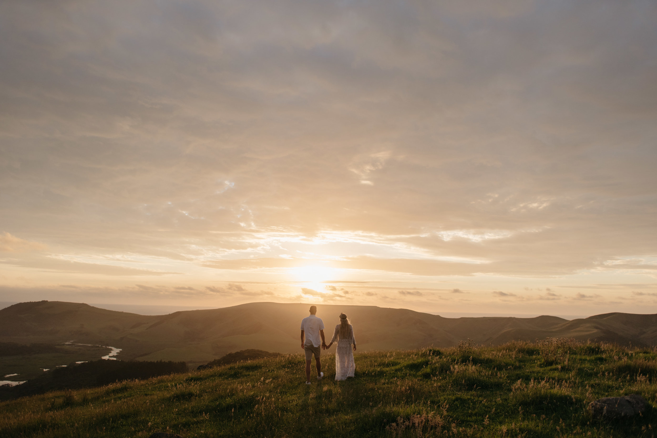 Josie and Ryan EPHEMERAL CREATIVE Jonkers Farm New Zealand Wedding sunset walk