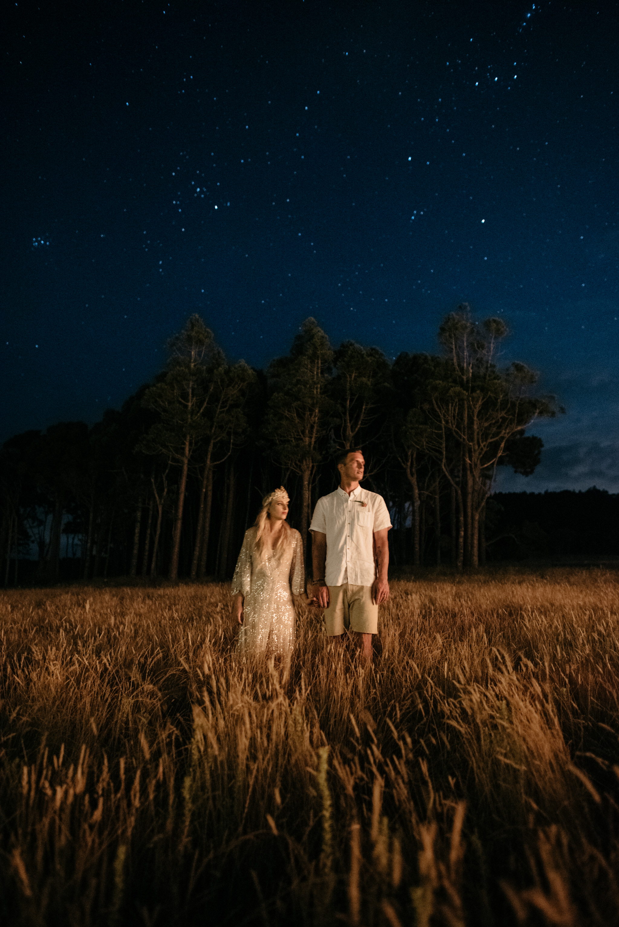 Josie and Ryan EPHEMERAL CREATIVE Jonkers Farm New Zealand Wedding bride and groom night star photo