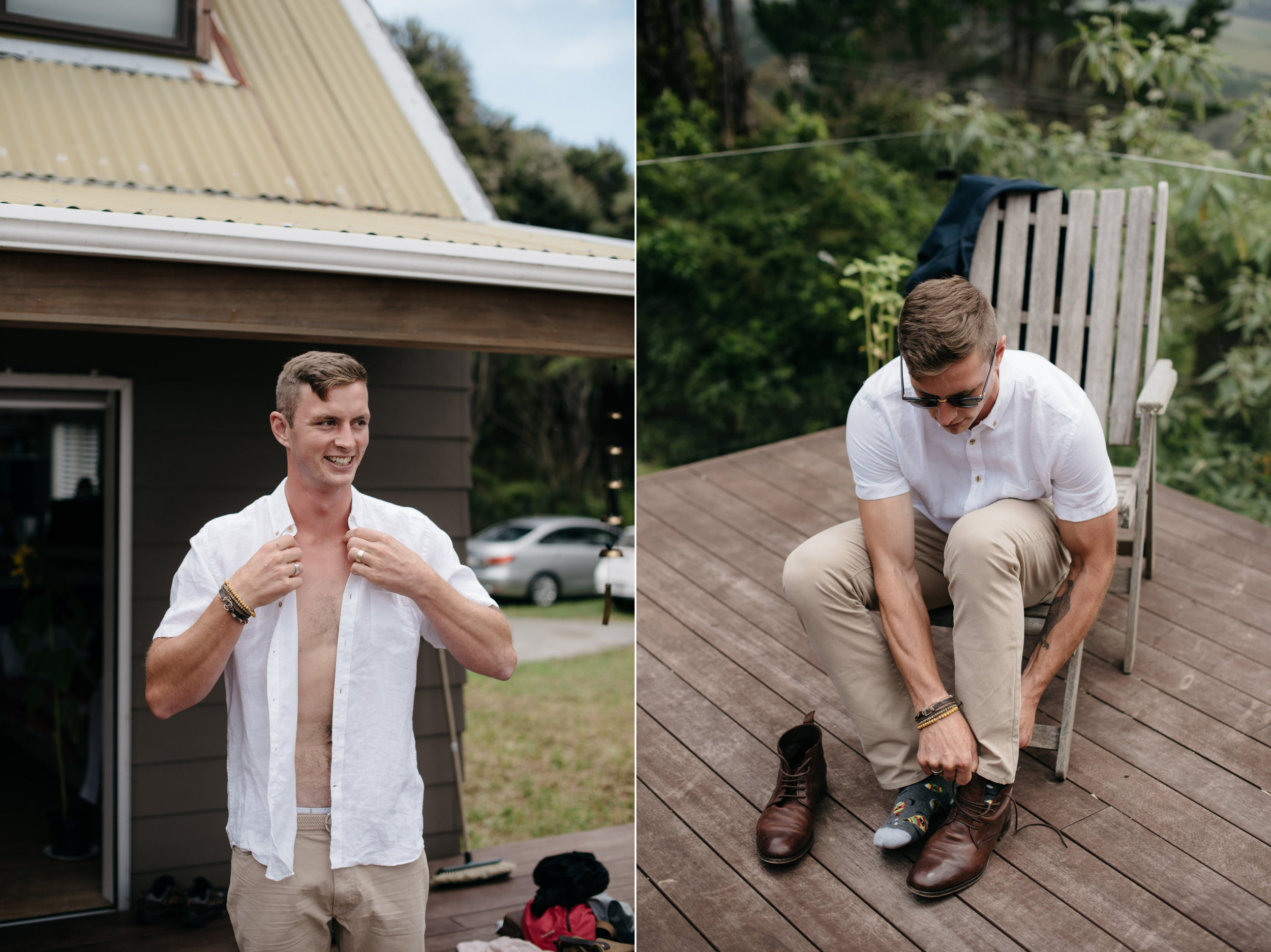 Josie and Ryan EPHEMERAL CREATIVE Jonkers Farm New Zealand Wedding groom prep