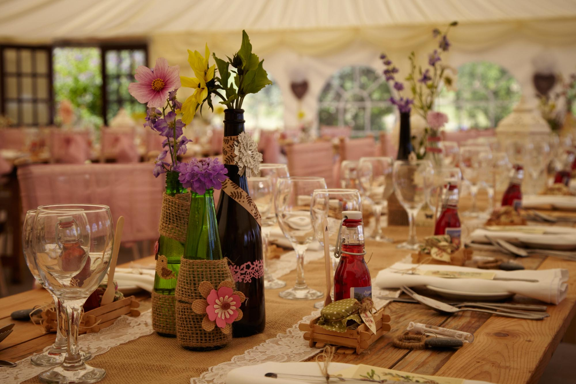 Wedding Reception Table Arrangement at Huntstile Farm