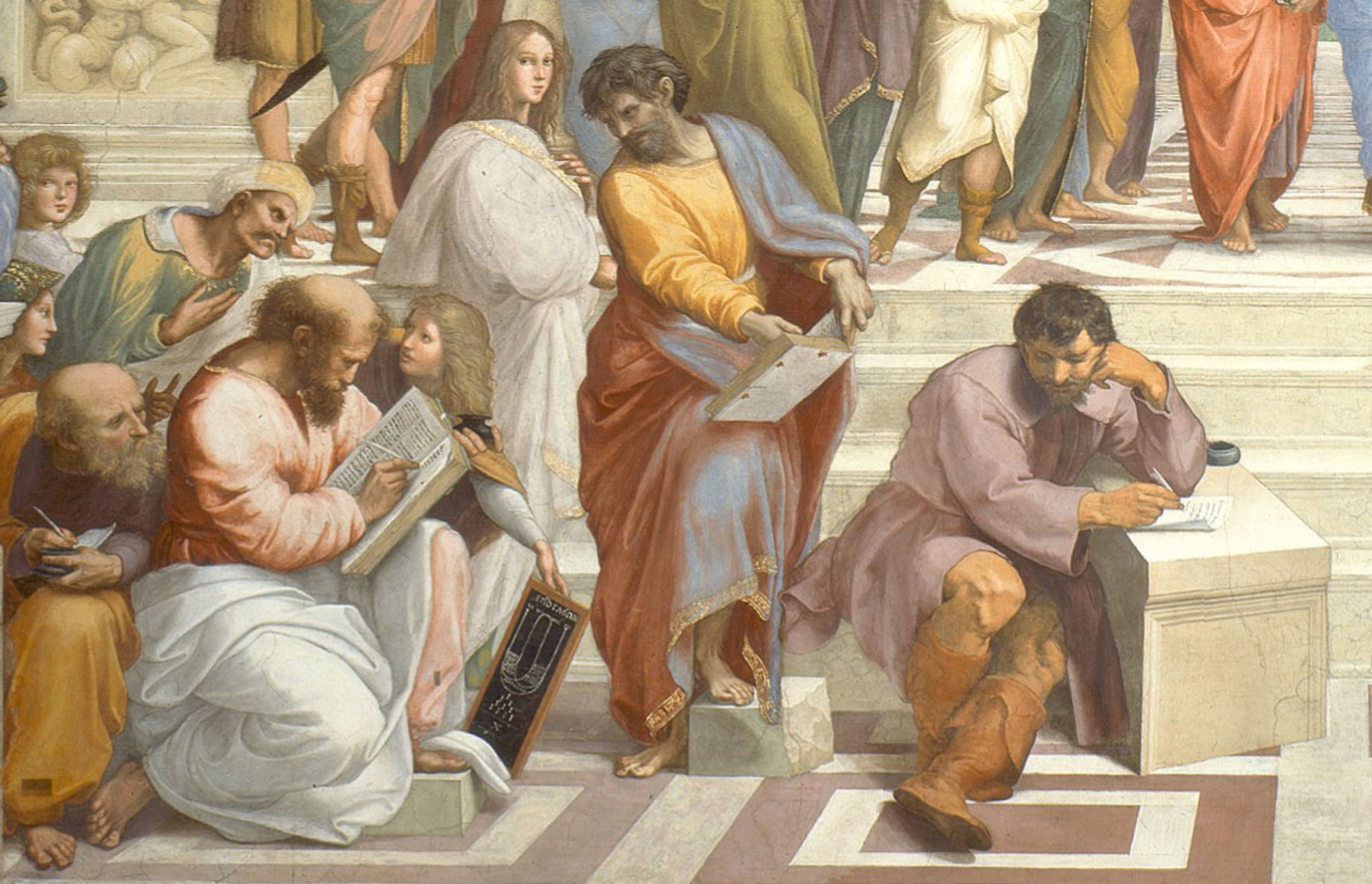 "Section of ""School of Athens"" 1512 fresco by Raphael the Sanzio in the Apostolic Palace Rome, Italy. Vatican Museum. PD-Art"