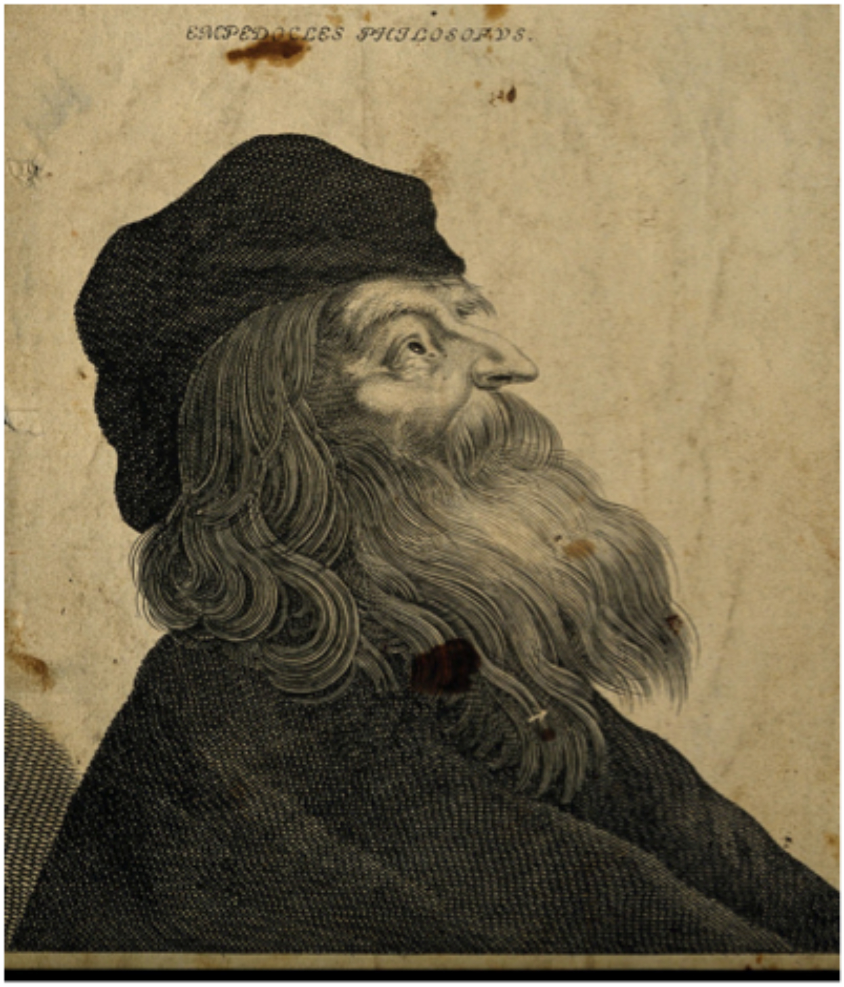 Engraving of Empedocles looking into the sky. It is not likely that Empedocles looked like this due to the fact that he was born c. 490 in the Greek province Sicily, but that the light came both from his eyes and the heaven seems in the artists notions not to be a contradiction but a spiritual enlightenment.       Line engraving by Remondini.   Wellcome Collection UK   https://wellcomecollection.org/works/cg9rs8xs   PD-Art