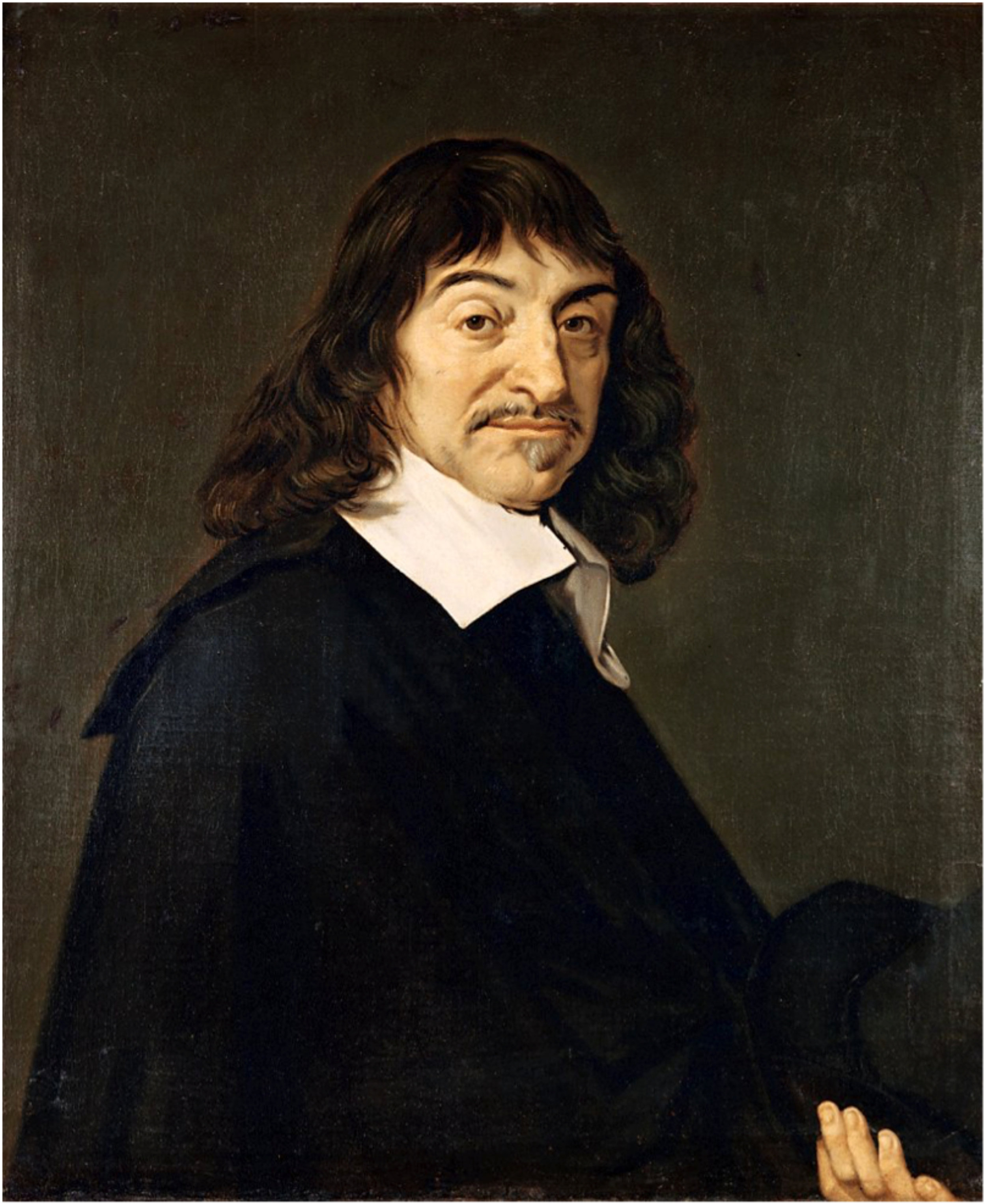 Portrait of René Descartes (1596-1650) circa 1649-1700. Oil on canvas. Height: 77.5 cm (30.5 in). Width: 68.5 cm (27 in).  Louvre Museum. INV. number 1317. 18th century: collection of the dukes of Orléans. 1785: acquired by Louis XVI de France (1754-1793),France.  Contributing photographer: André Hawala 1997.  PD-Art