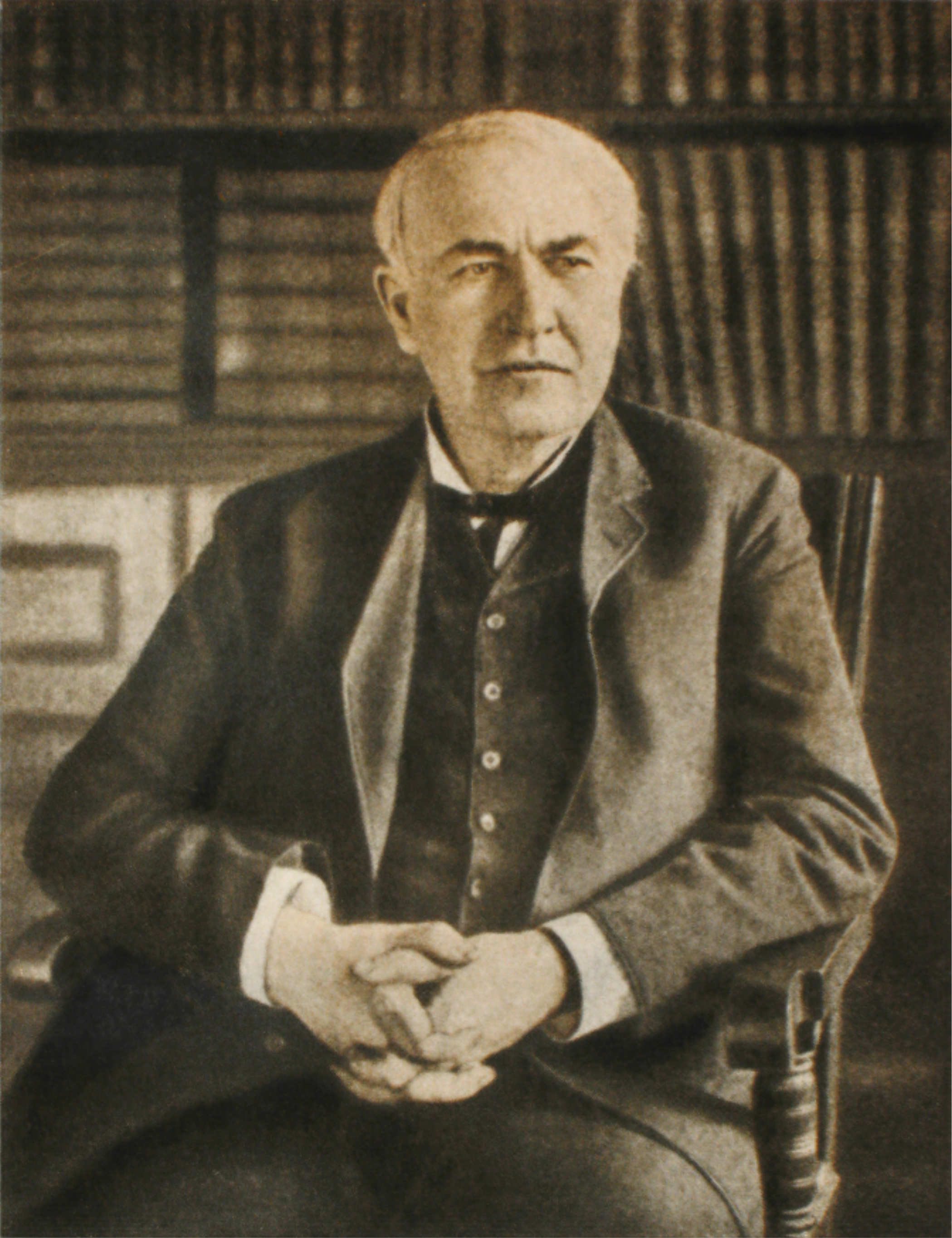 """Thomas Alva Edison(February 11, 1847– October 18, 1931) was an American inventor and businessman holding 1,093 patents in his name,in between otherselectric lightand powerutilities,sound recording, andmotion picturesall became major new industries worldwide.    (  Author unknown.  Published 1915.  1958 reprint """"Edison"""" ЖЗЛ book, Moscow, 1958 \Own work photo old paper photo by Vizu.  Wikimedia Commons)"""