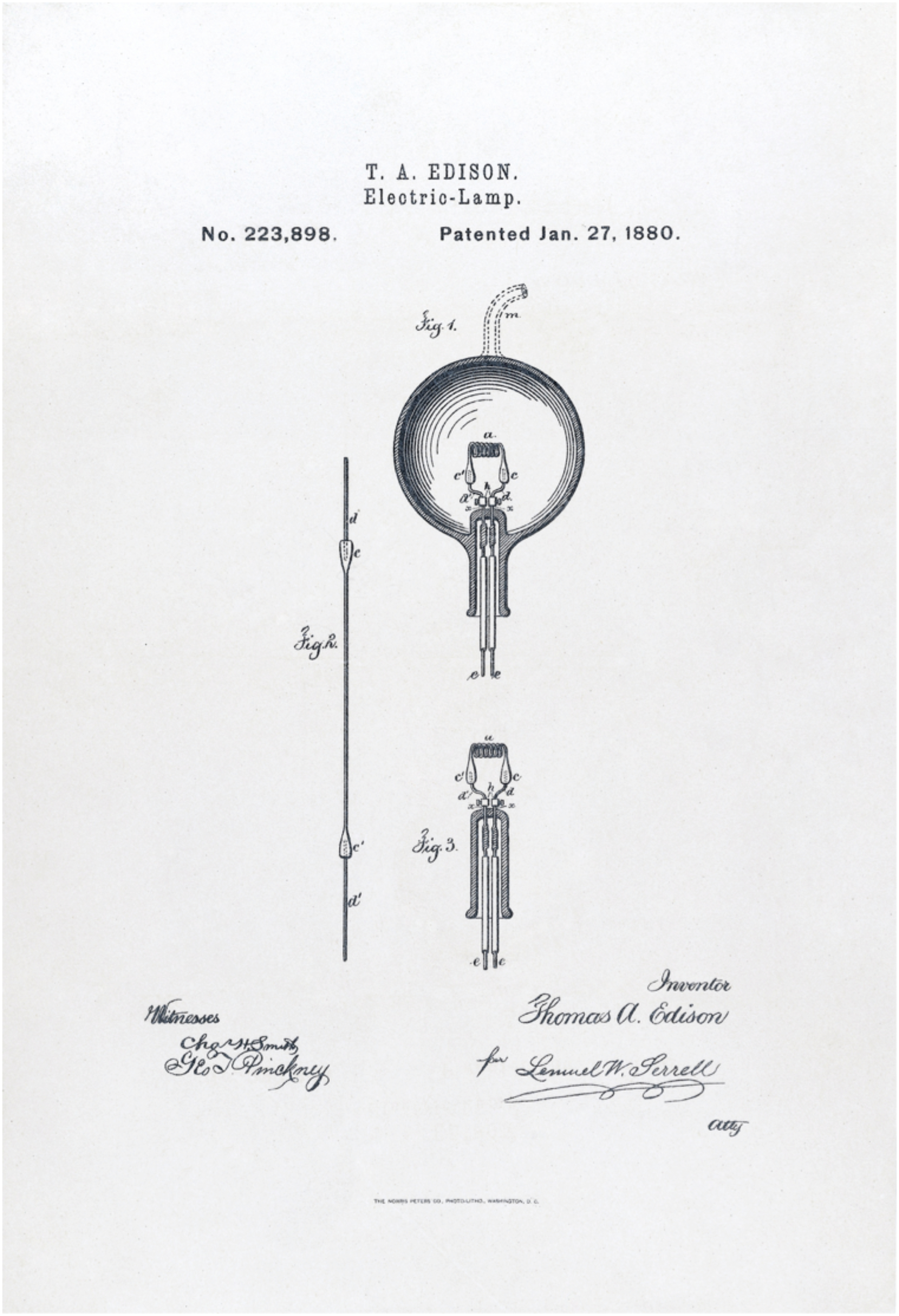 Thomas Alva EdisonsU.S. Patent #223898: Electric-Lamp (  issued January 27, 1880. Reprinted by the Norris Peters Co.  Wikimedia Commons)