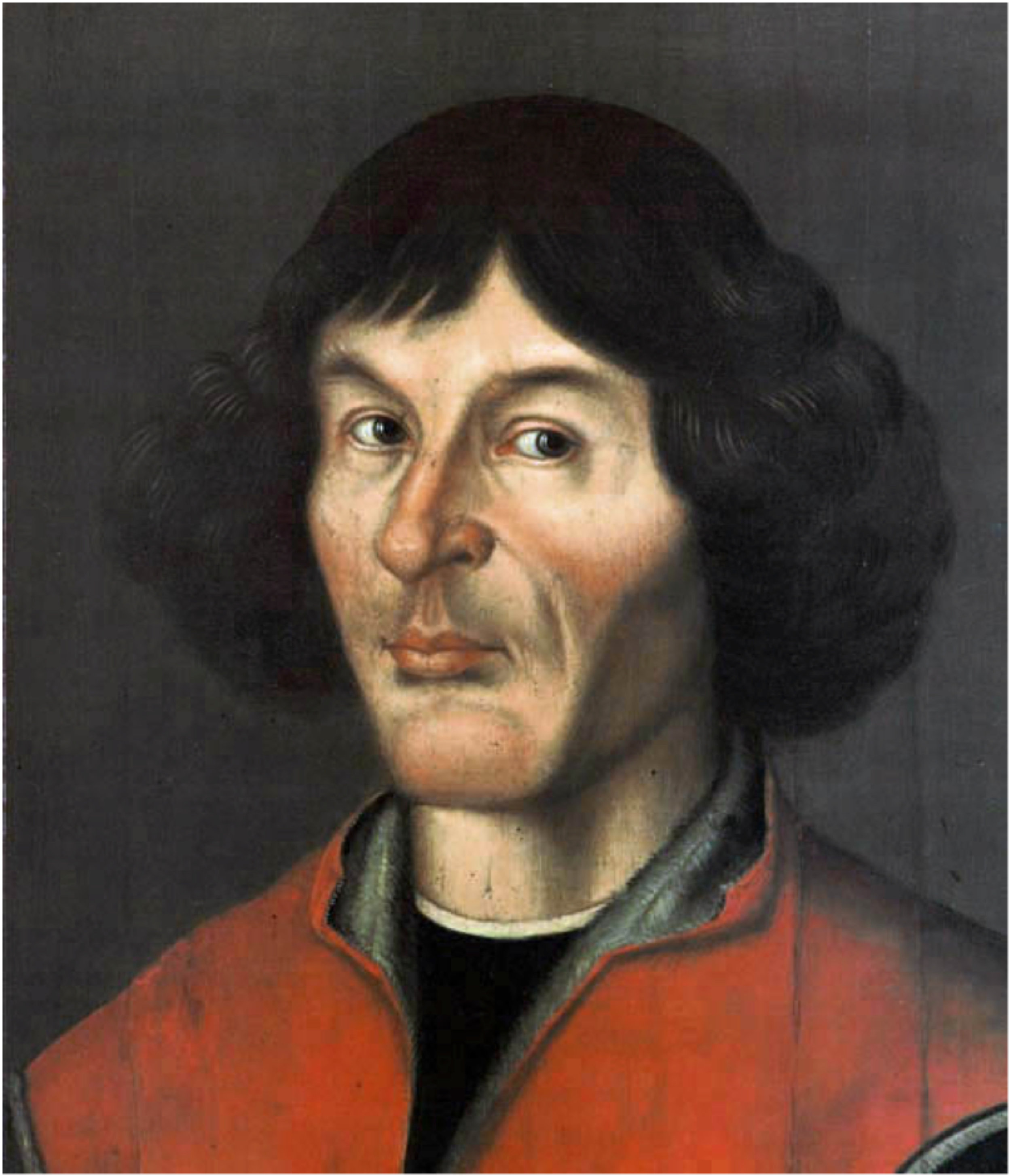 Nikolaus Copernicus 1473 -1543.1580 Portrait by an unknown painter.  Tempera und Öl auf Holz 50.8 × 40.5 cm   (20 × 15.9 in)  Town Hall of Toruń Poland.   Source: Muzeum Mikolaja Kopernika.  PD-Art    Nikolaus Copernicus was a mathematician and astronomer who formulated amodelofthe universethat placedthe Sun and not the Earth at the centre of the universe.Aristarchus of Samos formulated such a model some eighteen centuries earlier but it is assumed that Copernicus didn't know.     http://www.frombork.art.pl/Ang10.htm