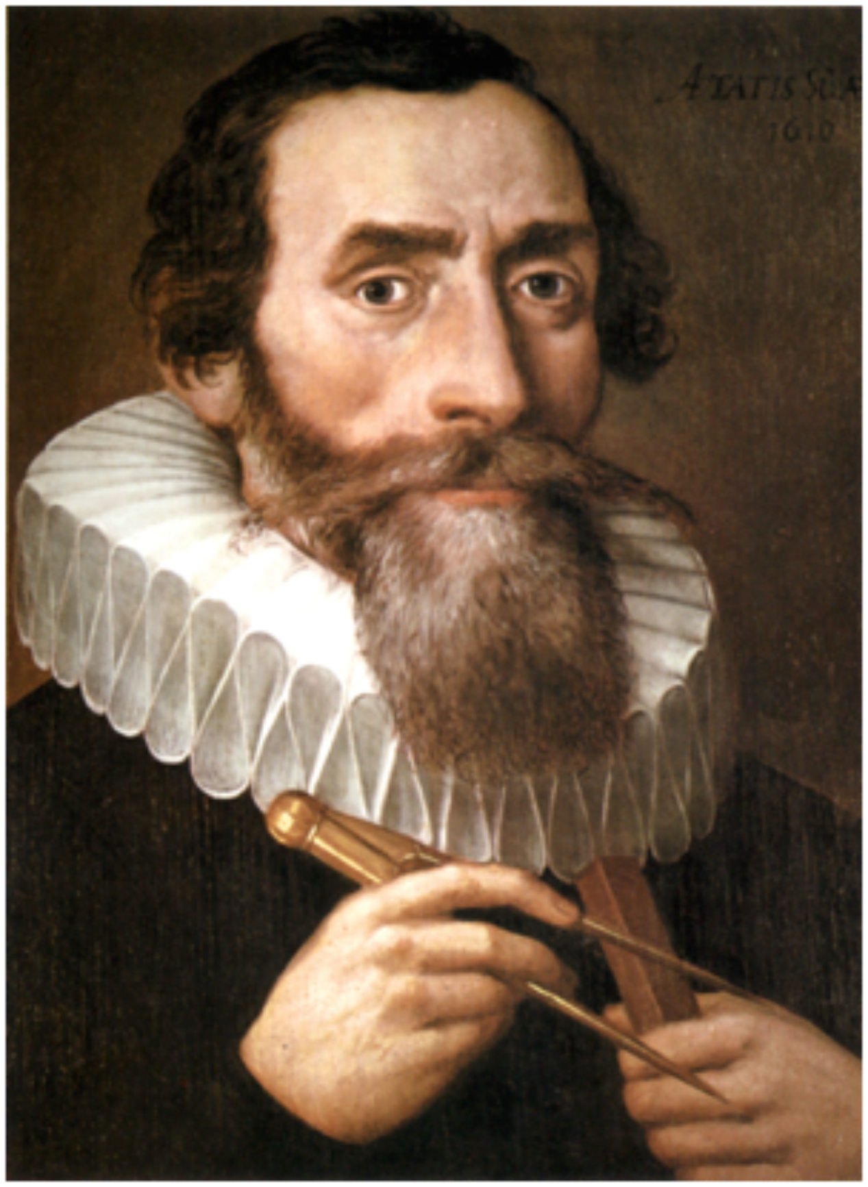 Johannes Kepler 1571 -1630.    Painted by an unknown painter in 1610.  Copy of a lost original from 1610 in the Benedictine monastery in Kremsmünster   PD-Art    Kepler was a German mathematician and optician,known for hislaws of planetary motion, based on his worksAstronomia nova,Harmonices Mundi, andEpitome of Copernican Astronomy. These works also provided one of the foundations forIsaac Newton's theory ofuniversal gravitation.