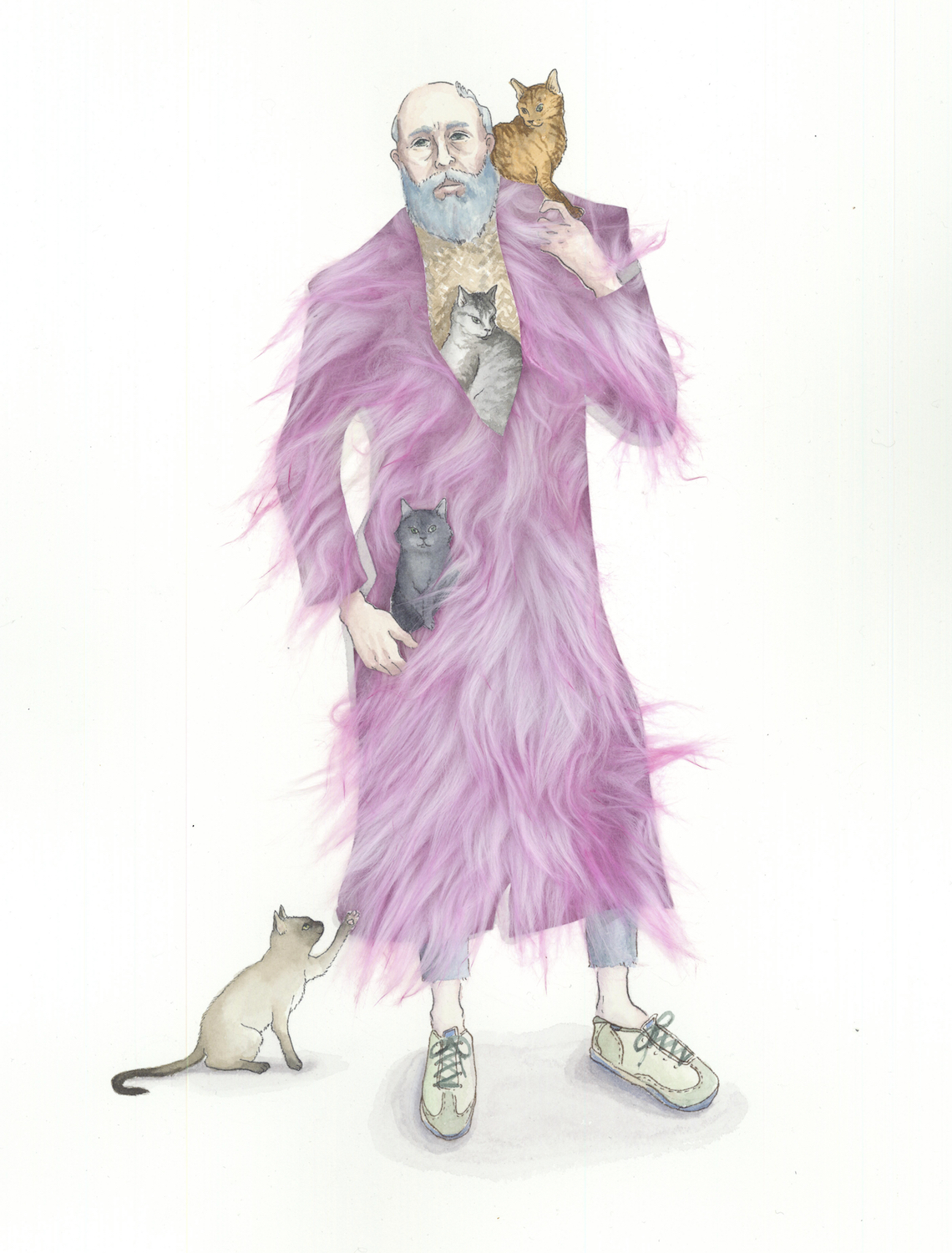 Edward Gorey's Enigmatic World  watercolor and faux fur on paper