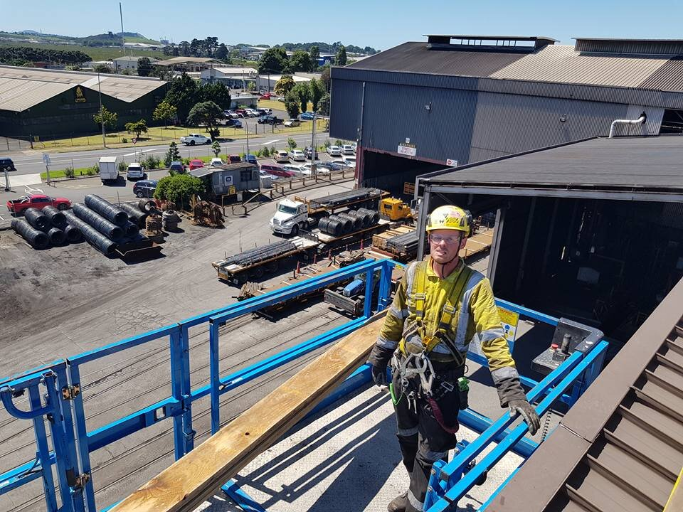 roof scaffold on factory in east tamaki auckland