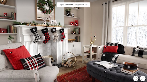 Target's 360-degree shoppable rooms feature. Image Source:  Target