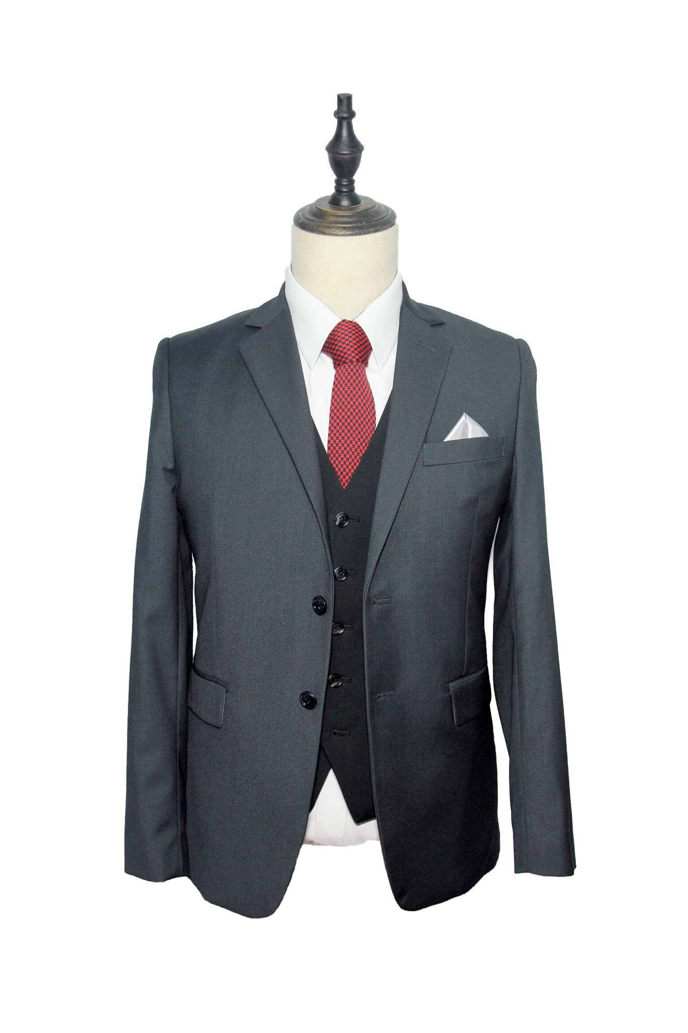 Classic Charcoal Grey Suit (F332-230) & Black Vest (L26-2340) .jpg