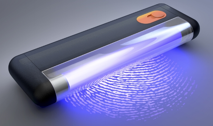 Image of black light technology that finds and fights germs