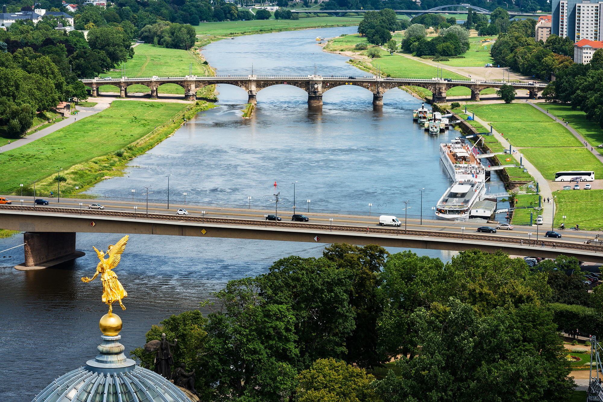 Aerial view of the Elbe river