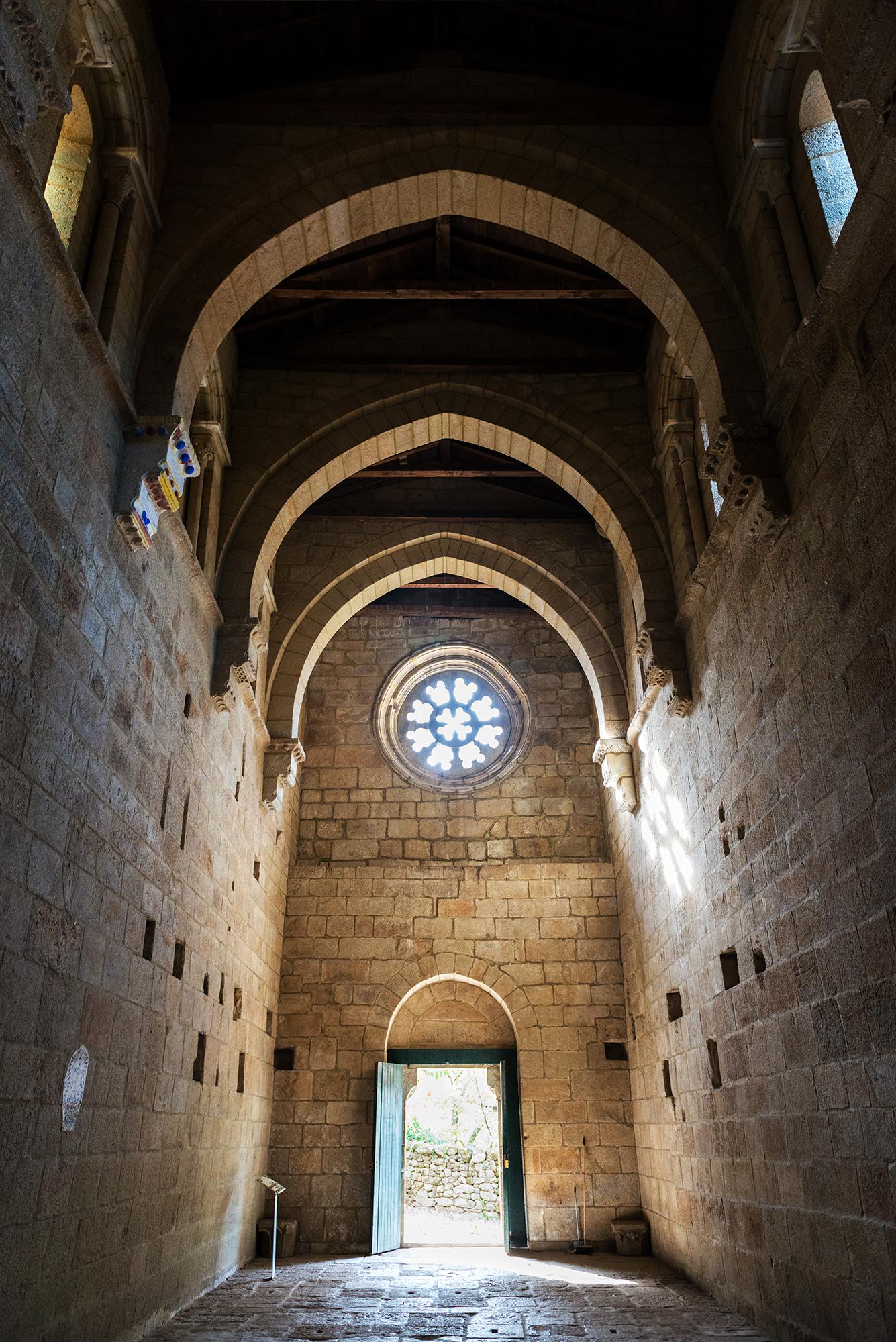 Inside view of the Romanesque Monastery of Santa Cristina de Ribas de Sil
