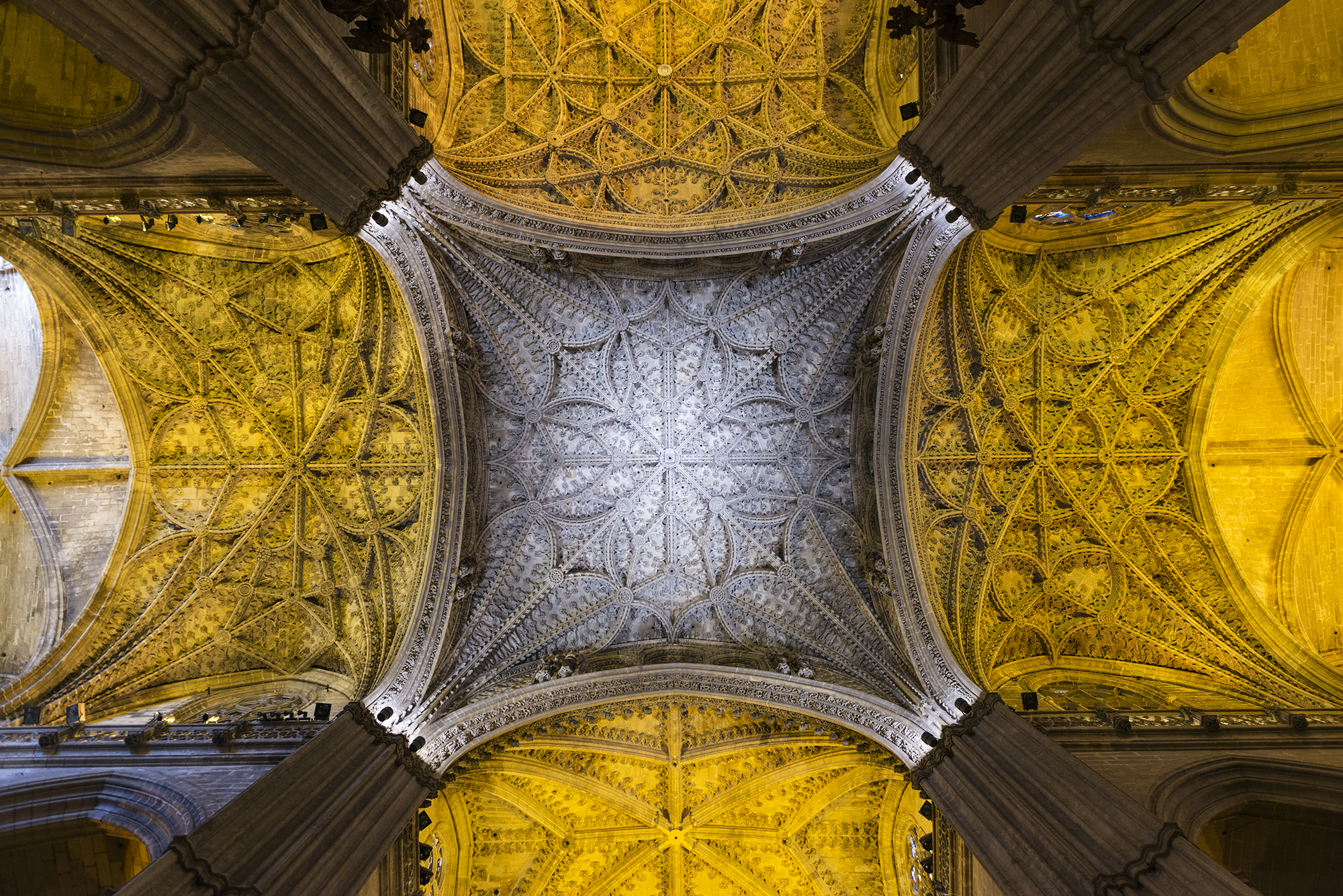 Detail of the ceiling inside Seville's Cathedral