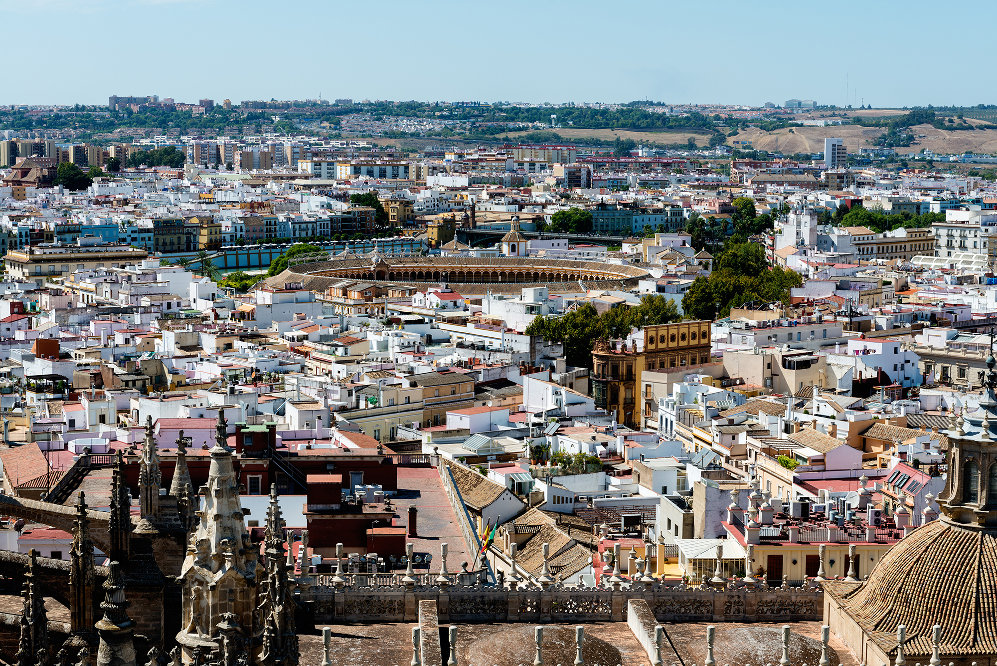 Rooftops of Seville in Spain on a sunny day