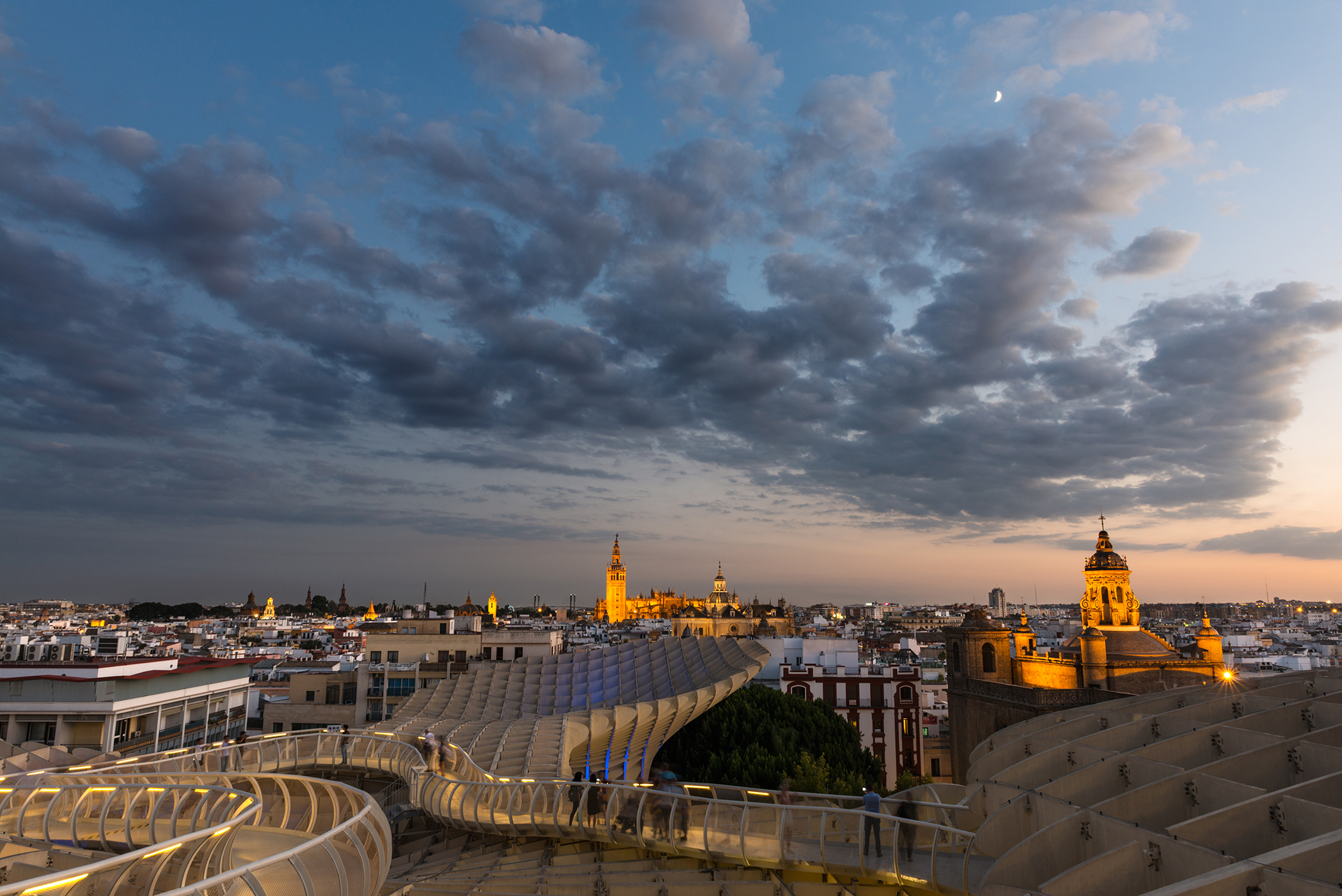 Seville cityscape at dusk from the Metropol Parasol